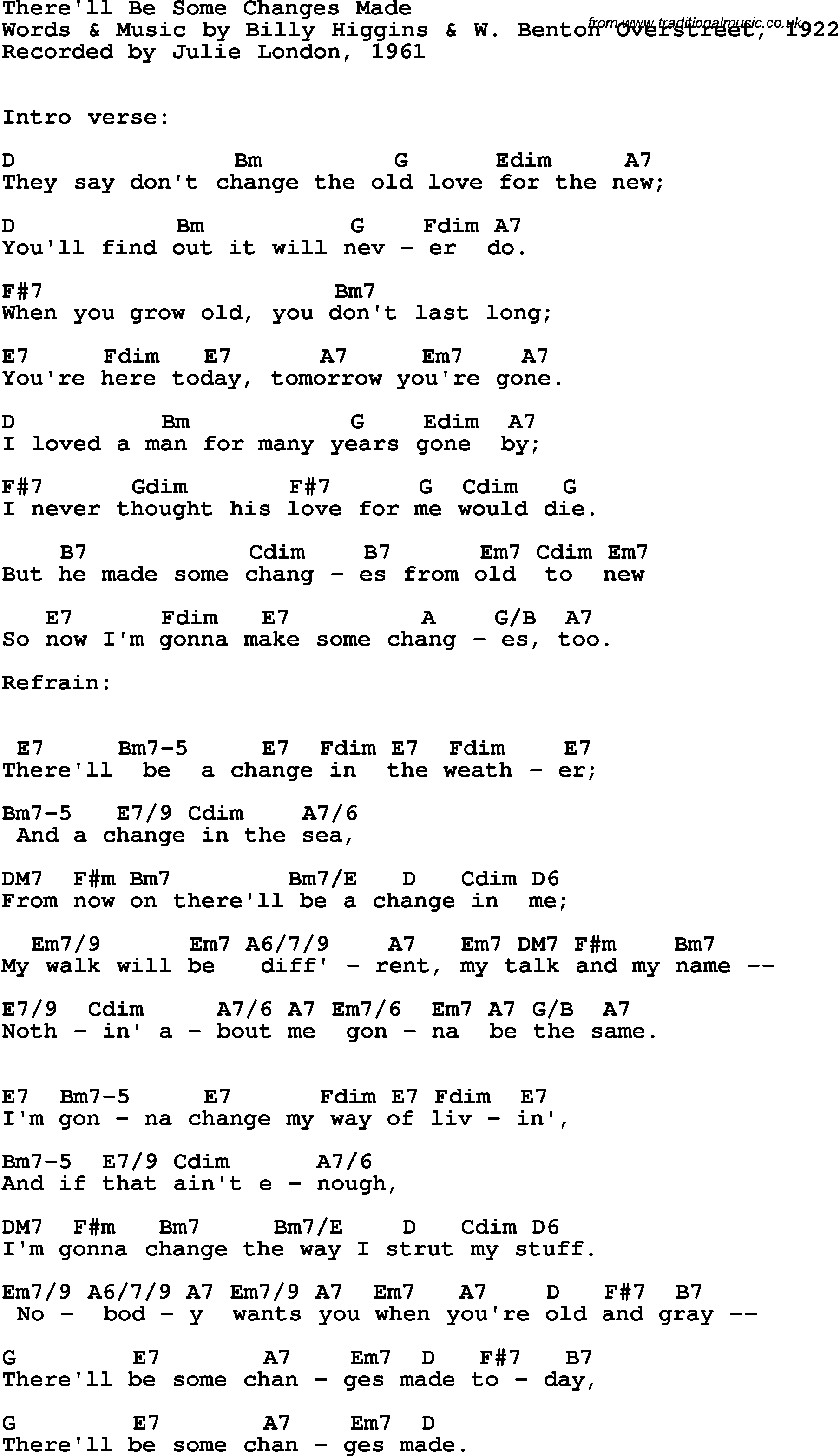 Song Lyrics With Guitar Chords For Therell Be Some Changes Made
