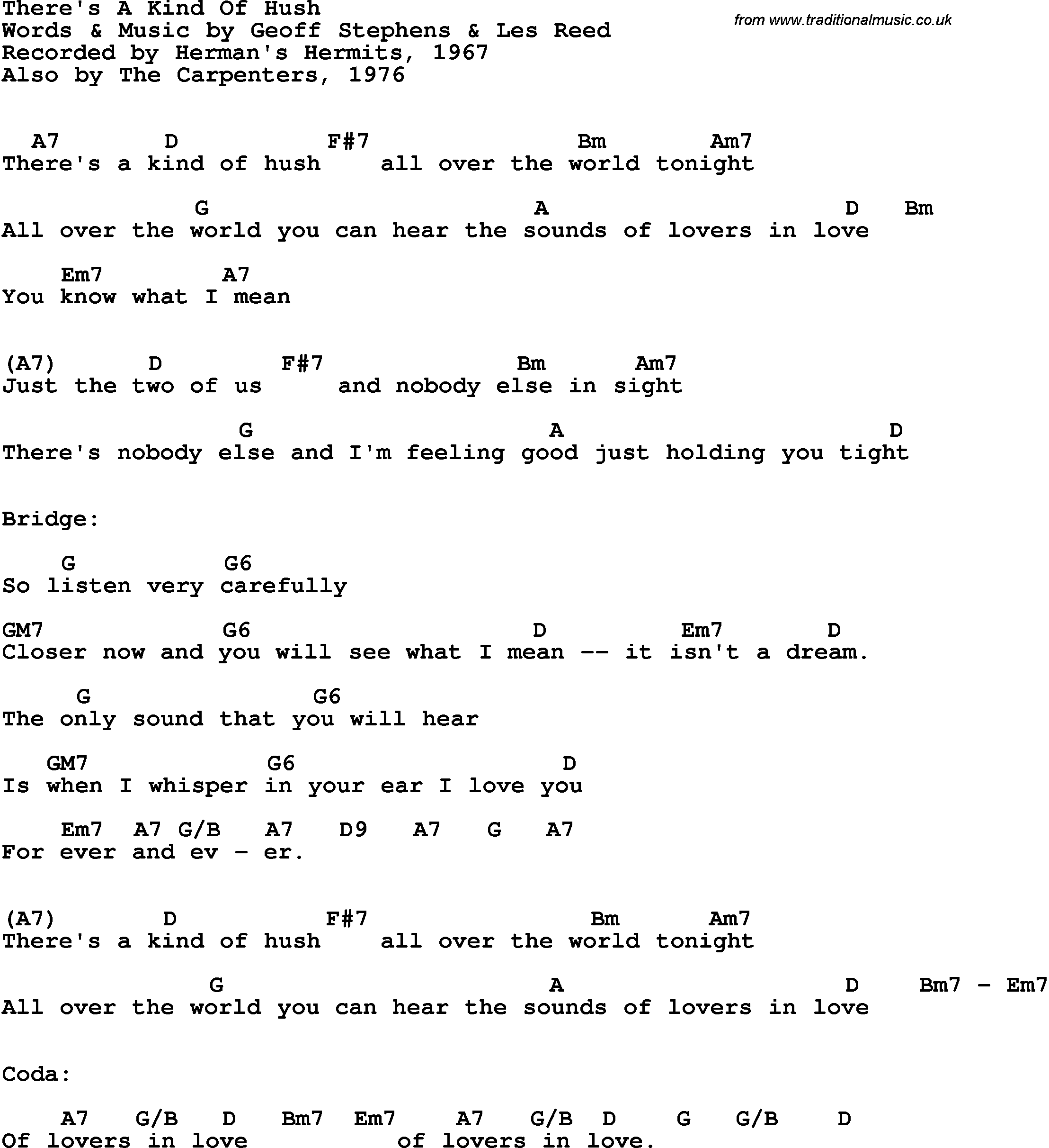 Song Lyrics With Guitar Chords For Theres A Kind Of Hush
