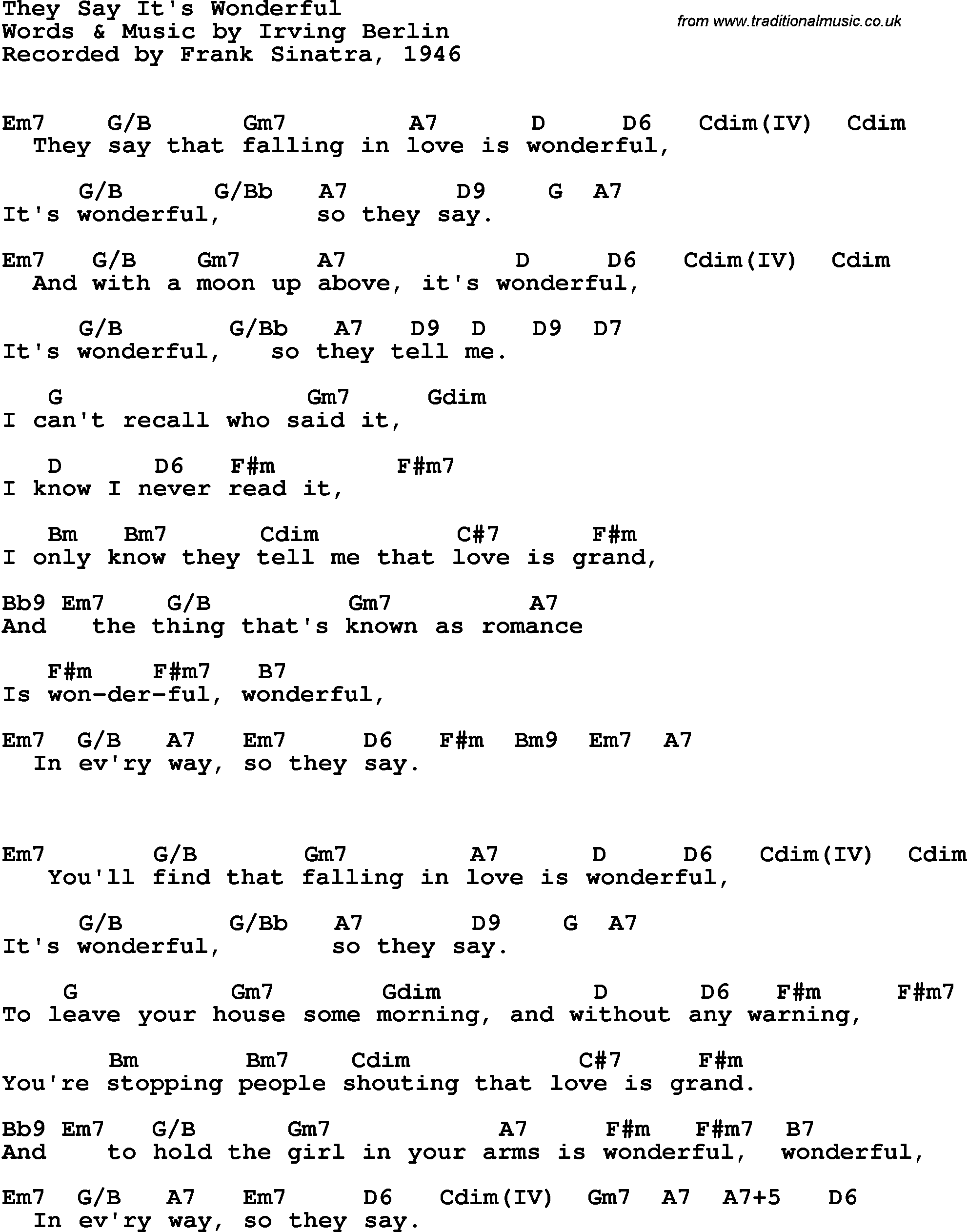 Song Lyrics With Guitar Chords For They Say Its Wonderful Frank