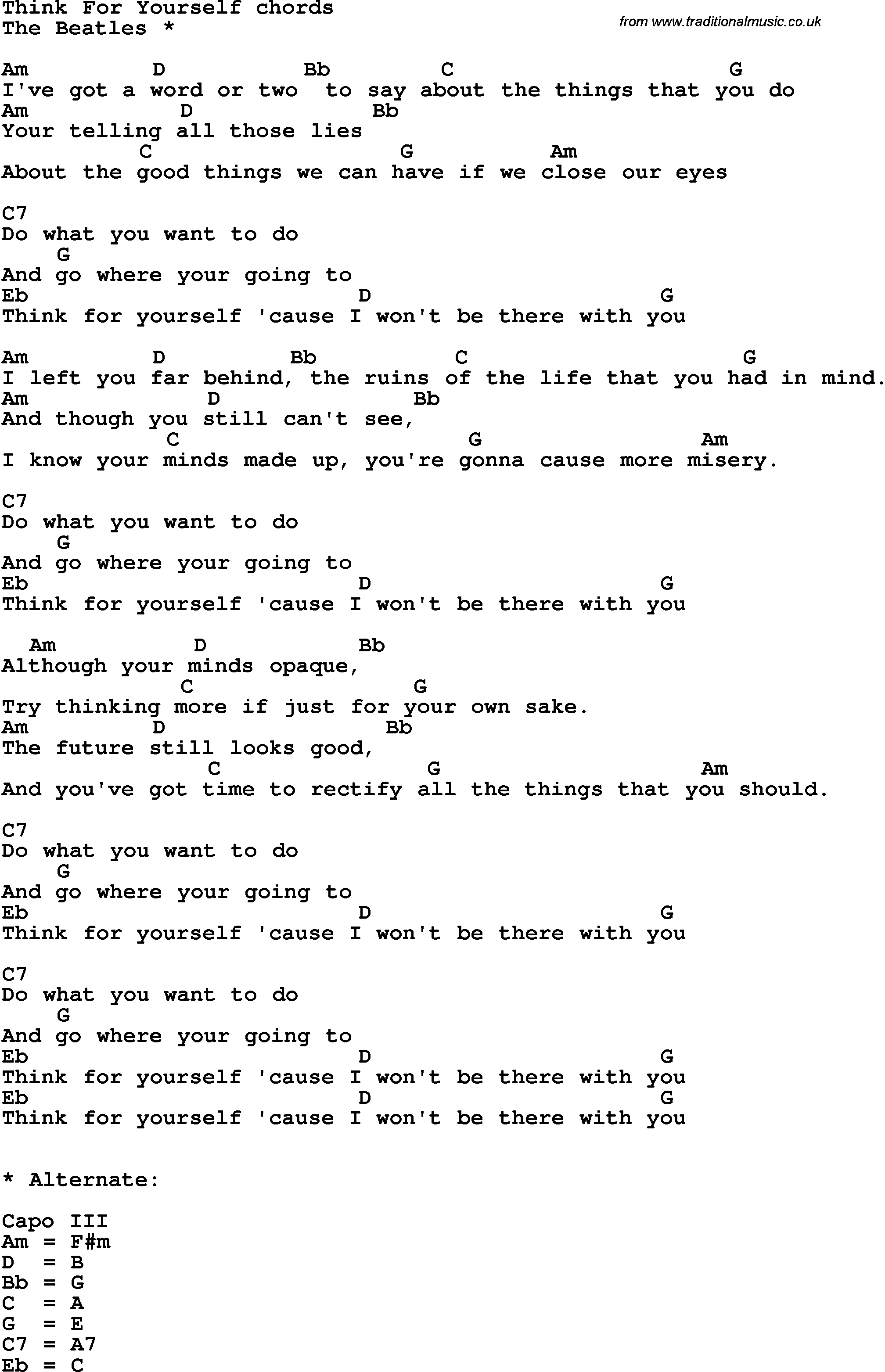 Song Lyrics With Guitar Chords For Think For Yourself