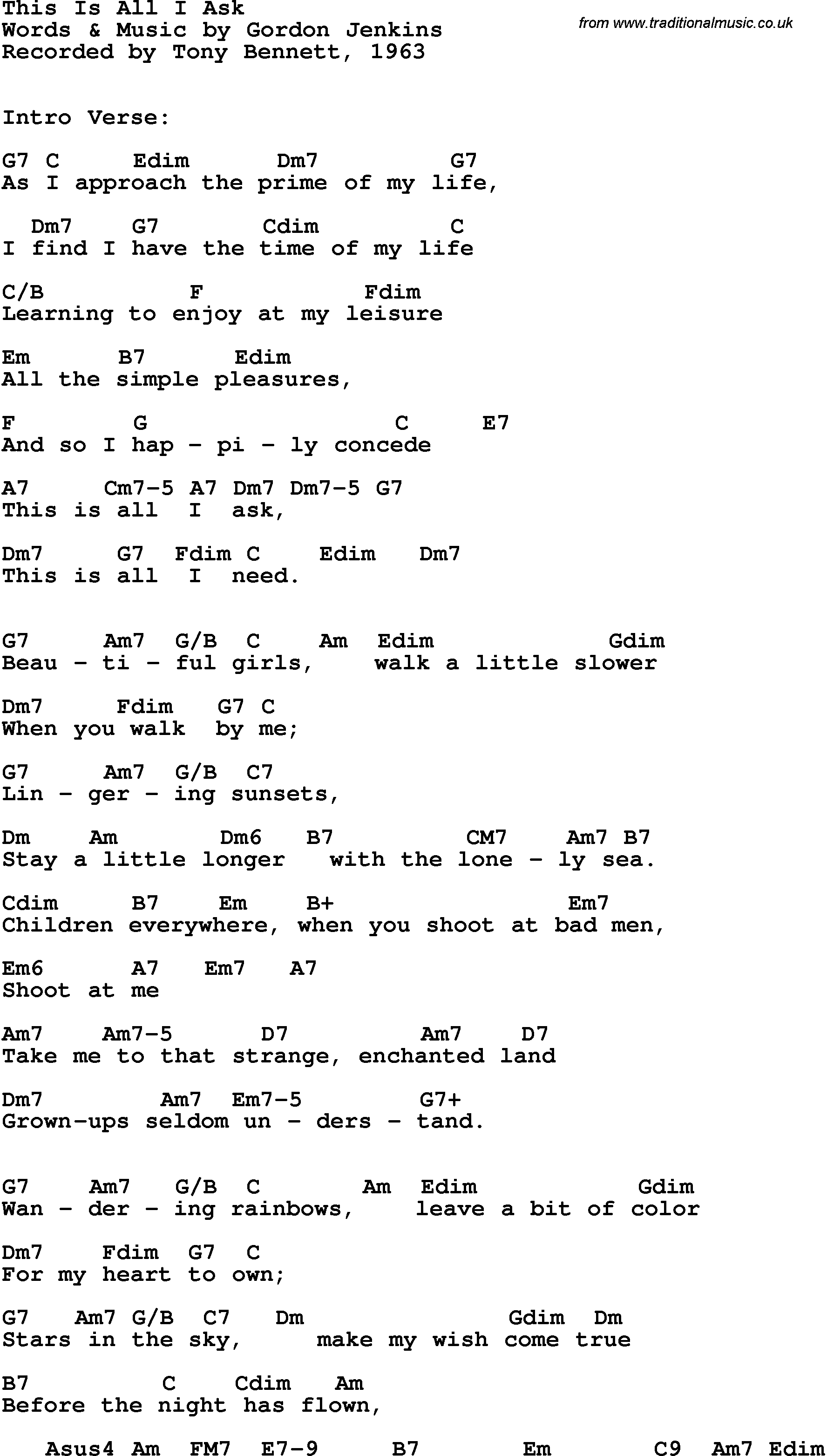 Song lyrics with guitar chords for This Is All I Ask   Tony ...