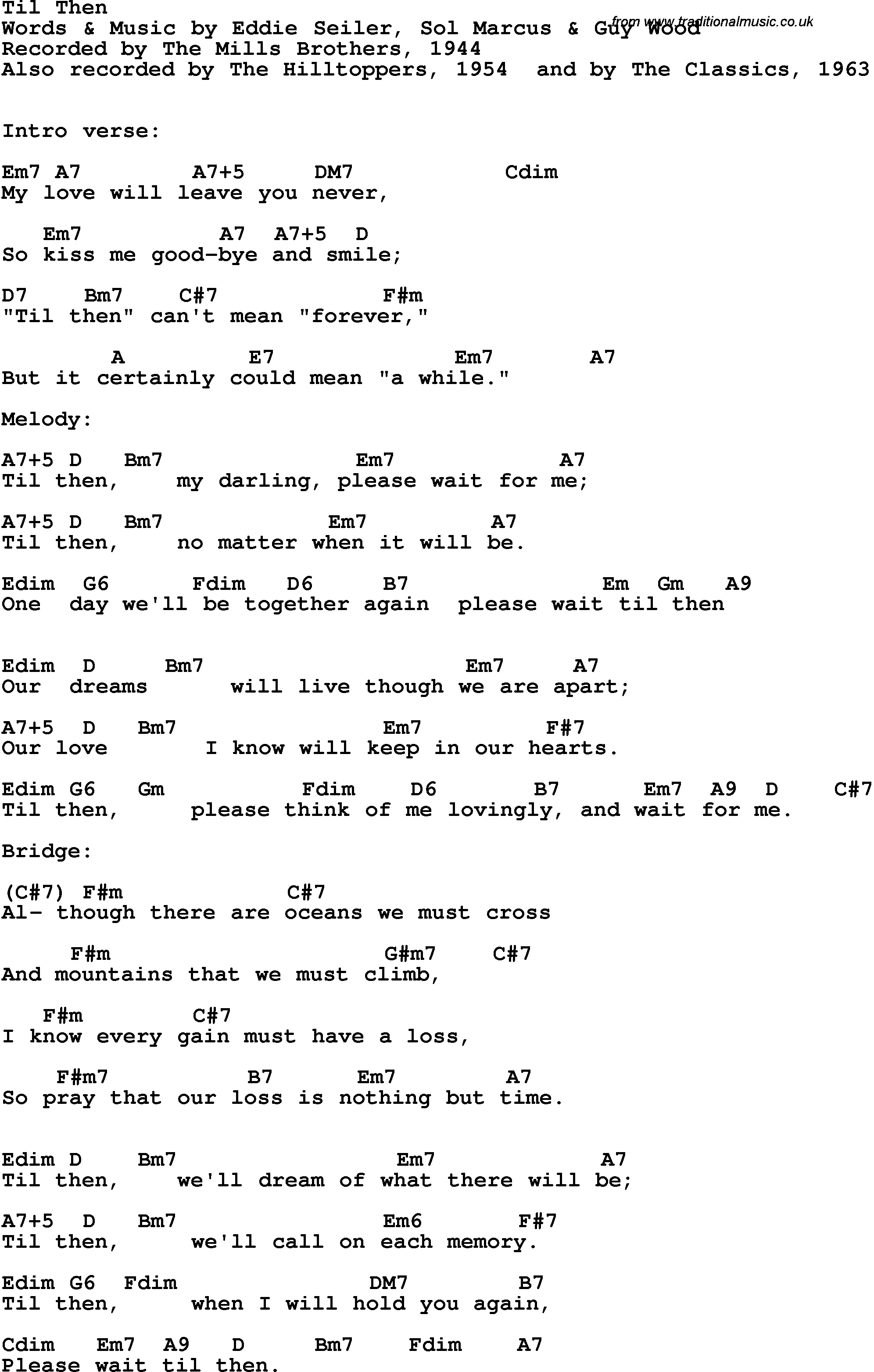 Song lyrics with guitar chords for Til Then   The Mills Brothers, 15