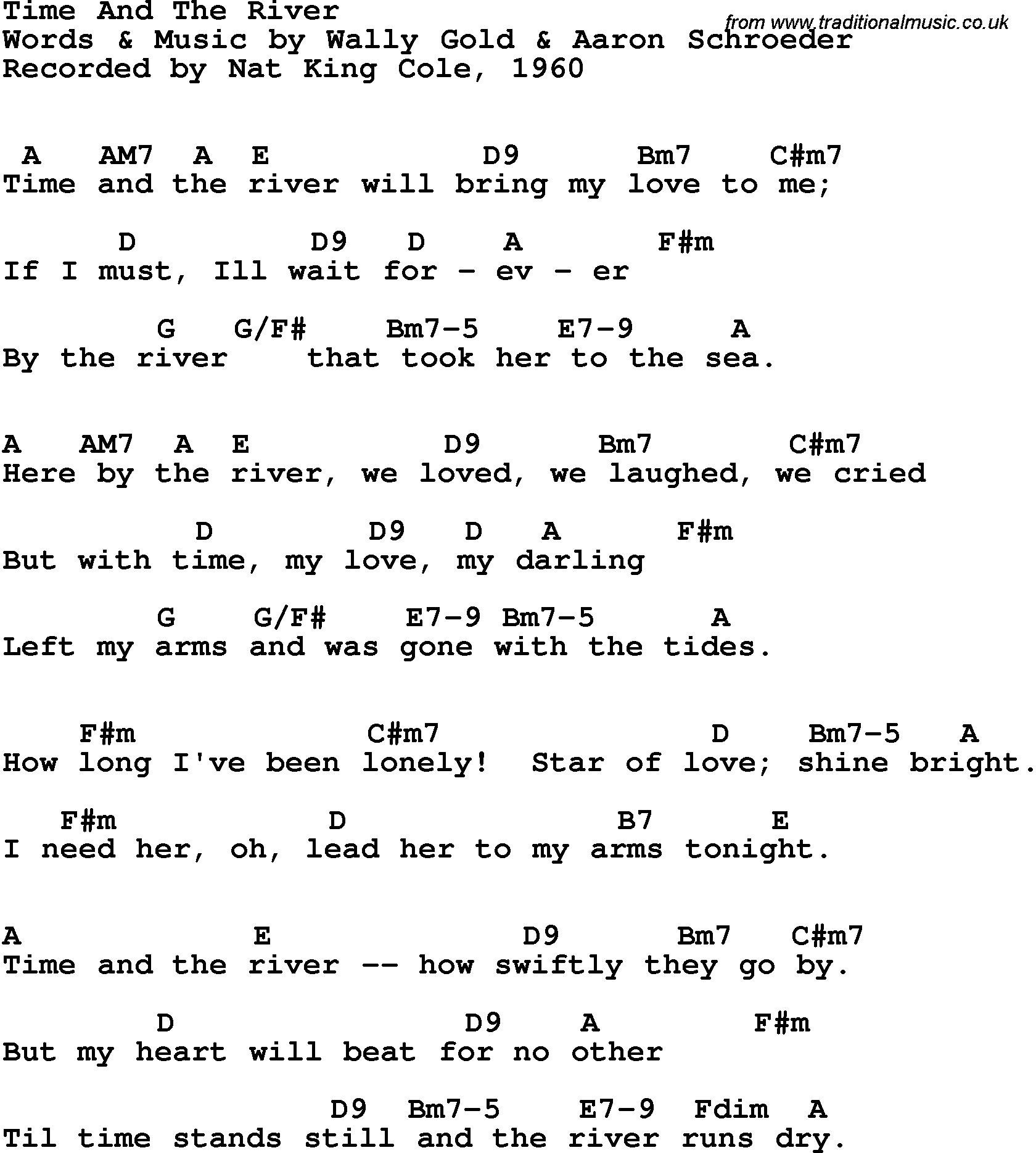 Song Lyrics With Guitar Chords For Time And The River Nat King