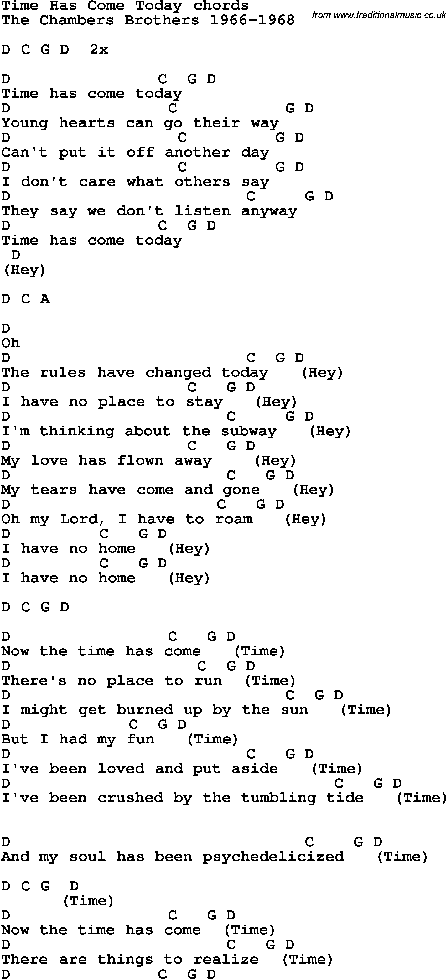 Song Lyrics With Guitar Chords For Time Has Come Today