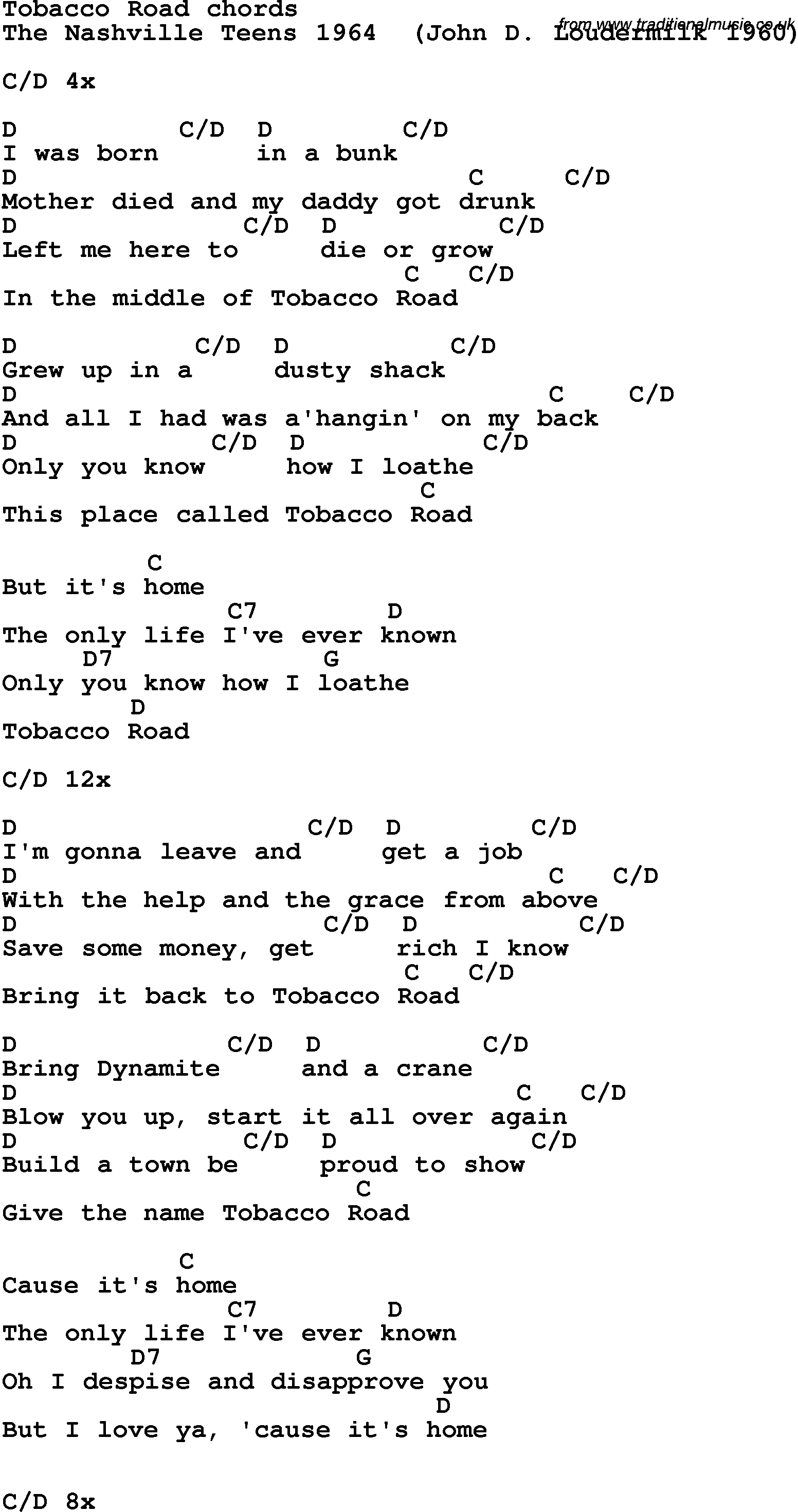 Song Lyrics With Guitar Chords For Tobacco Road