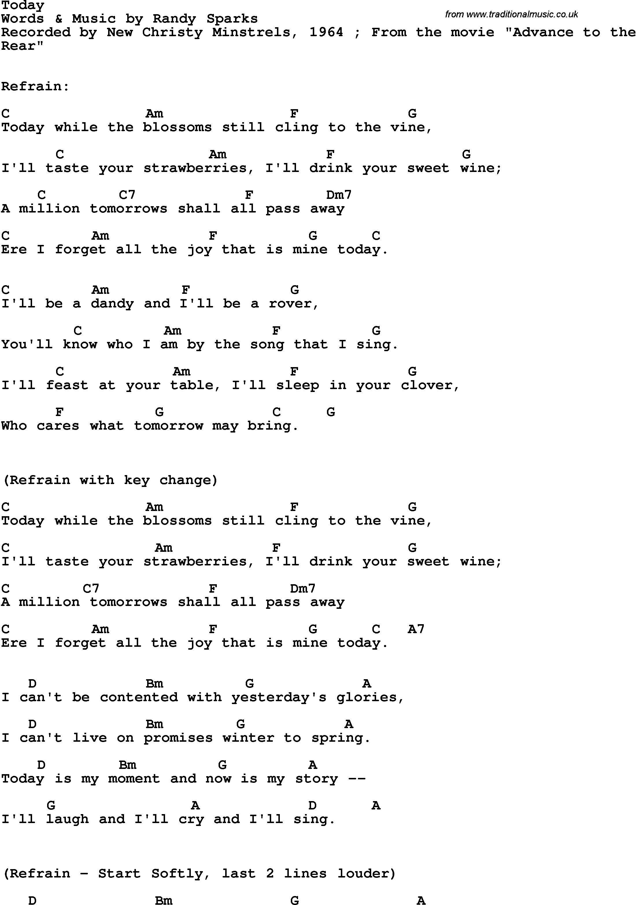 Song Lyrics With Guitar Chords For Today The New Christy Minstrels