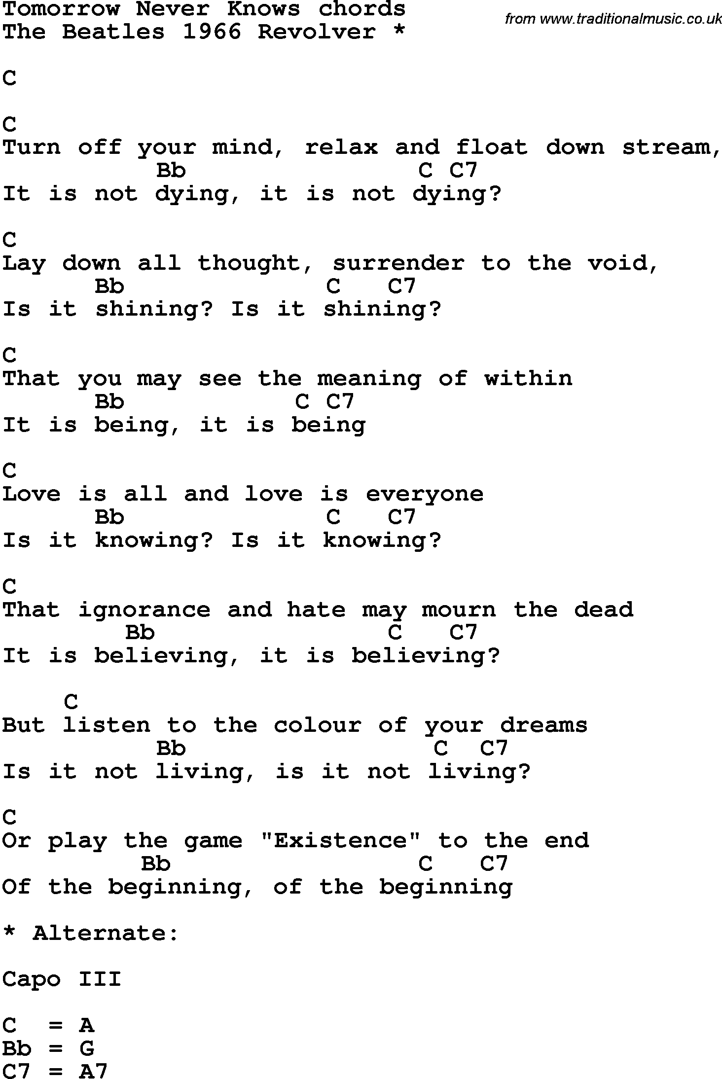 Song Lyrics With Guitar Chords For Tomorrow Never Knows Beatles
