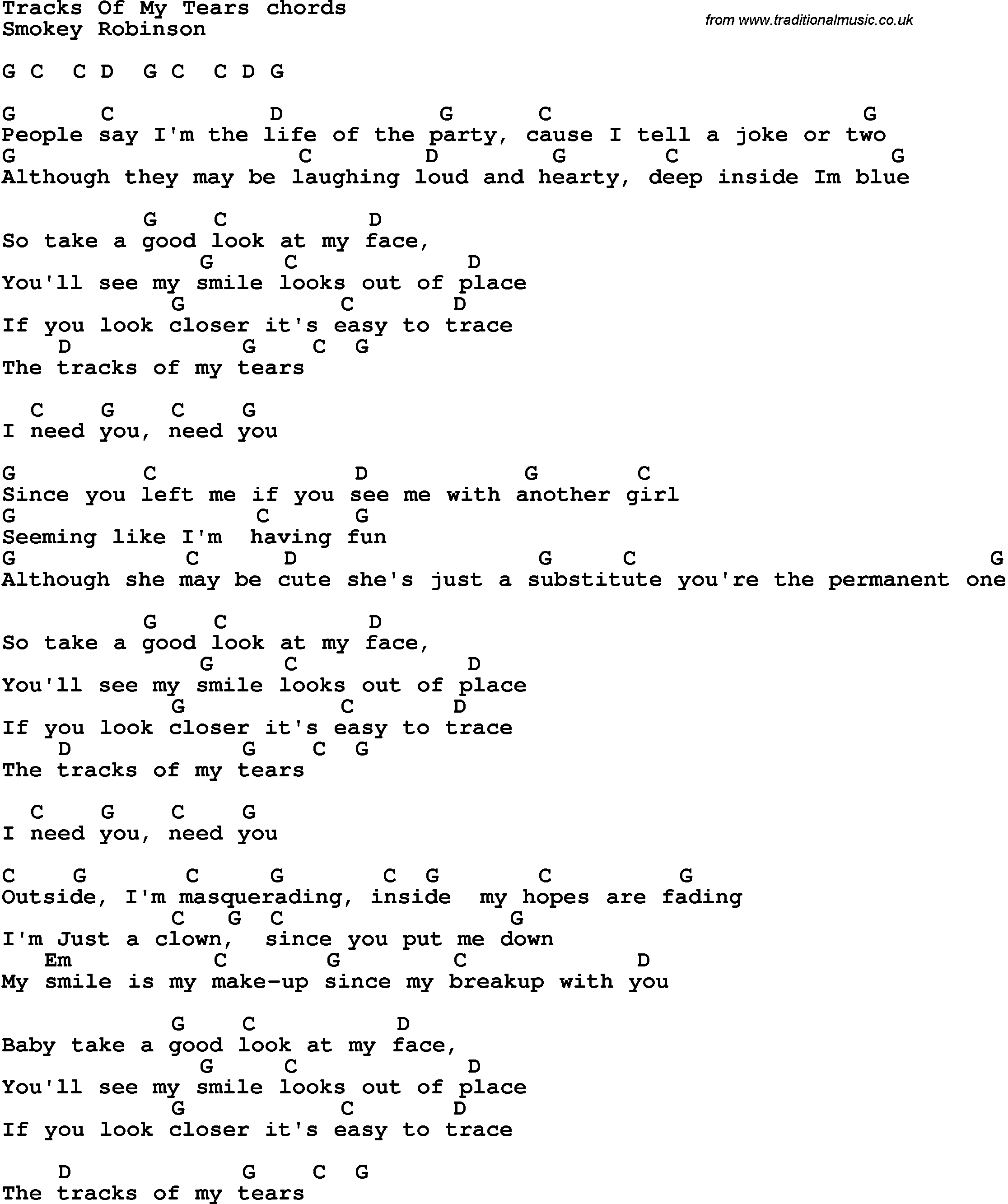 Song Lyrics With Guitar Chords For Tracks Of My Tears