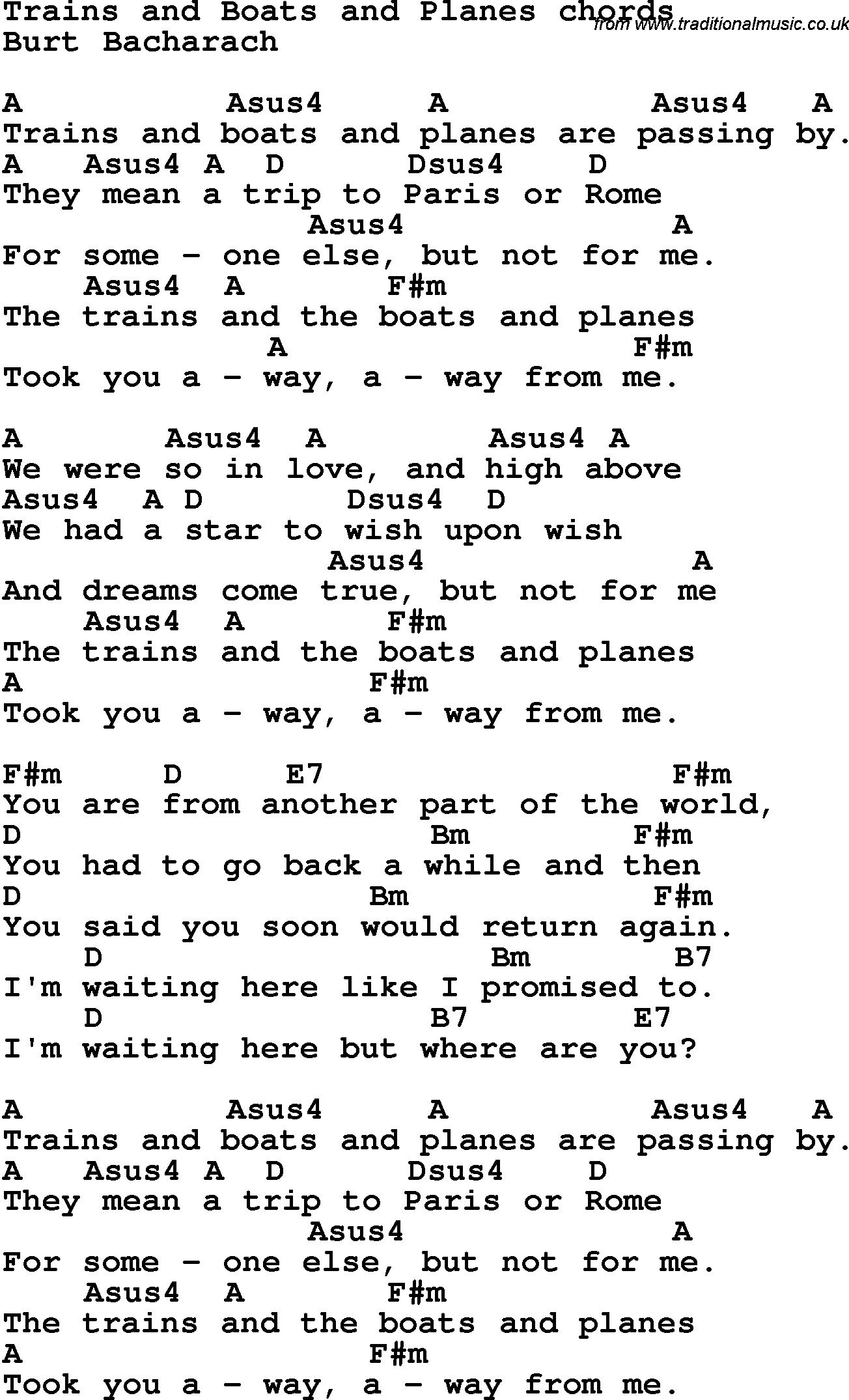 Song Lyrics With Guitar Chords For Trains And Boats And Planes