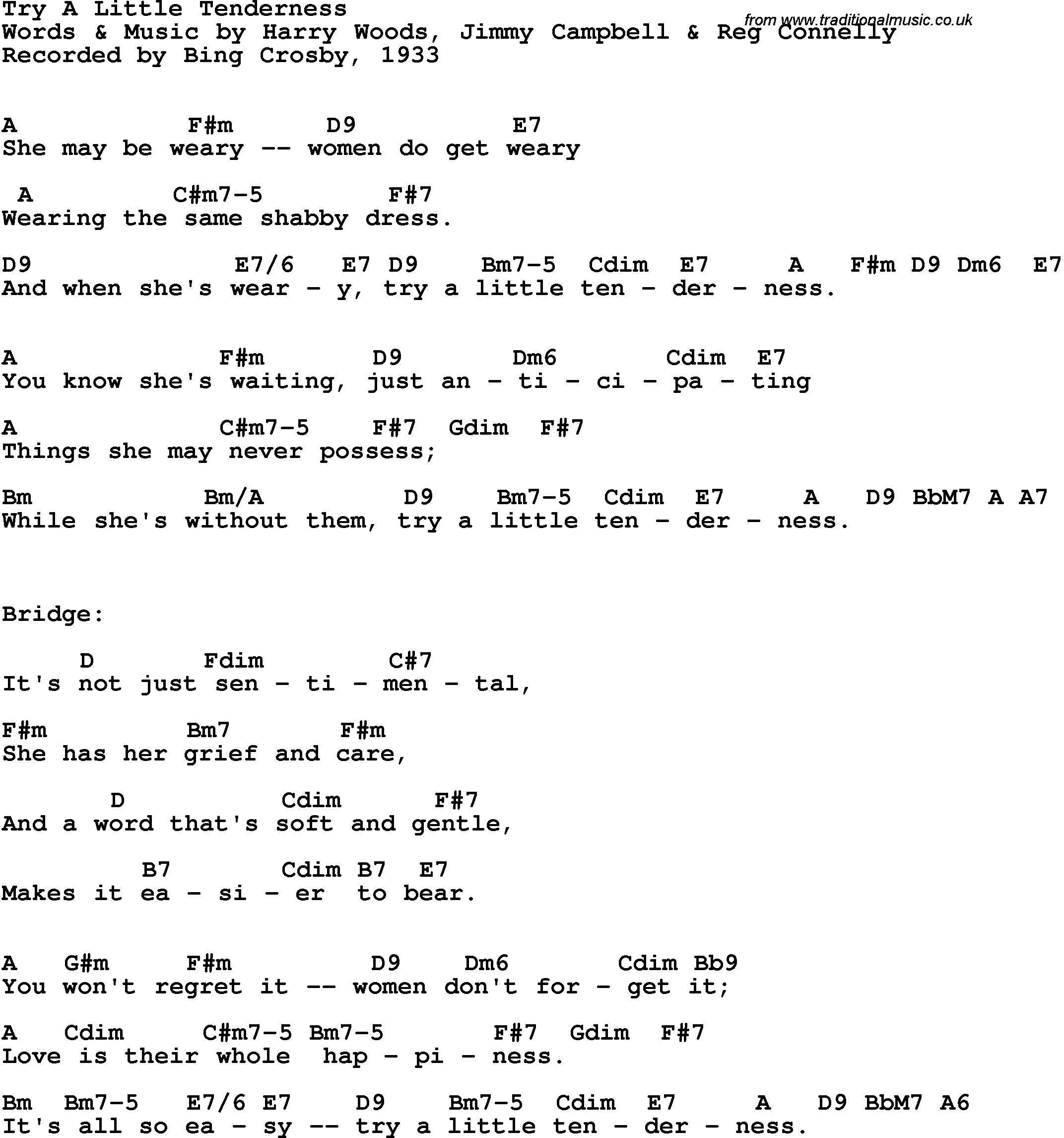 Song lyrics with guitar chords for Try A Little Tenderness   Bing ...