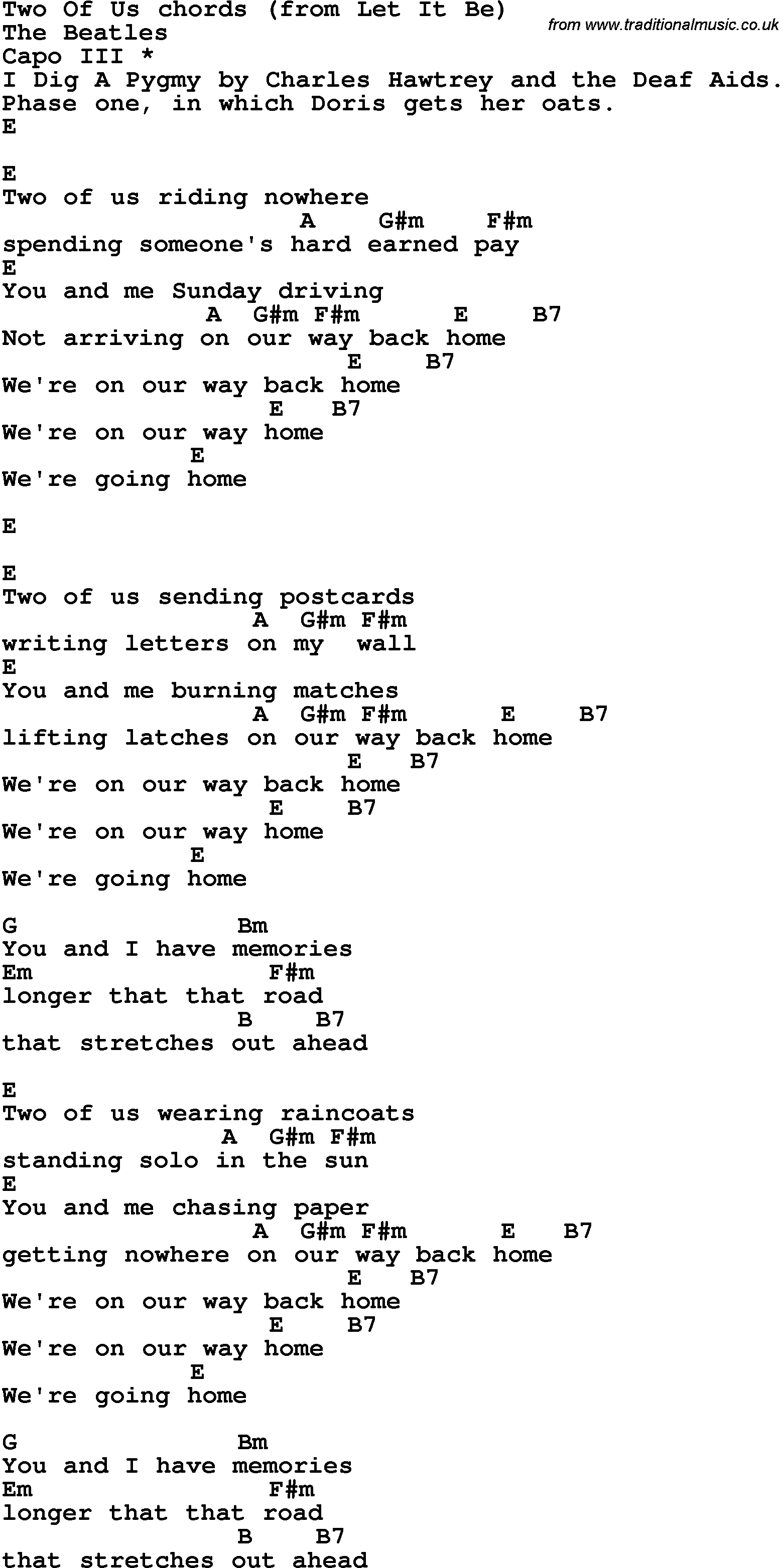 Song Lyrics With Guitar Chords For Two Of Us