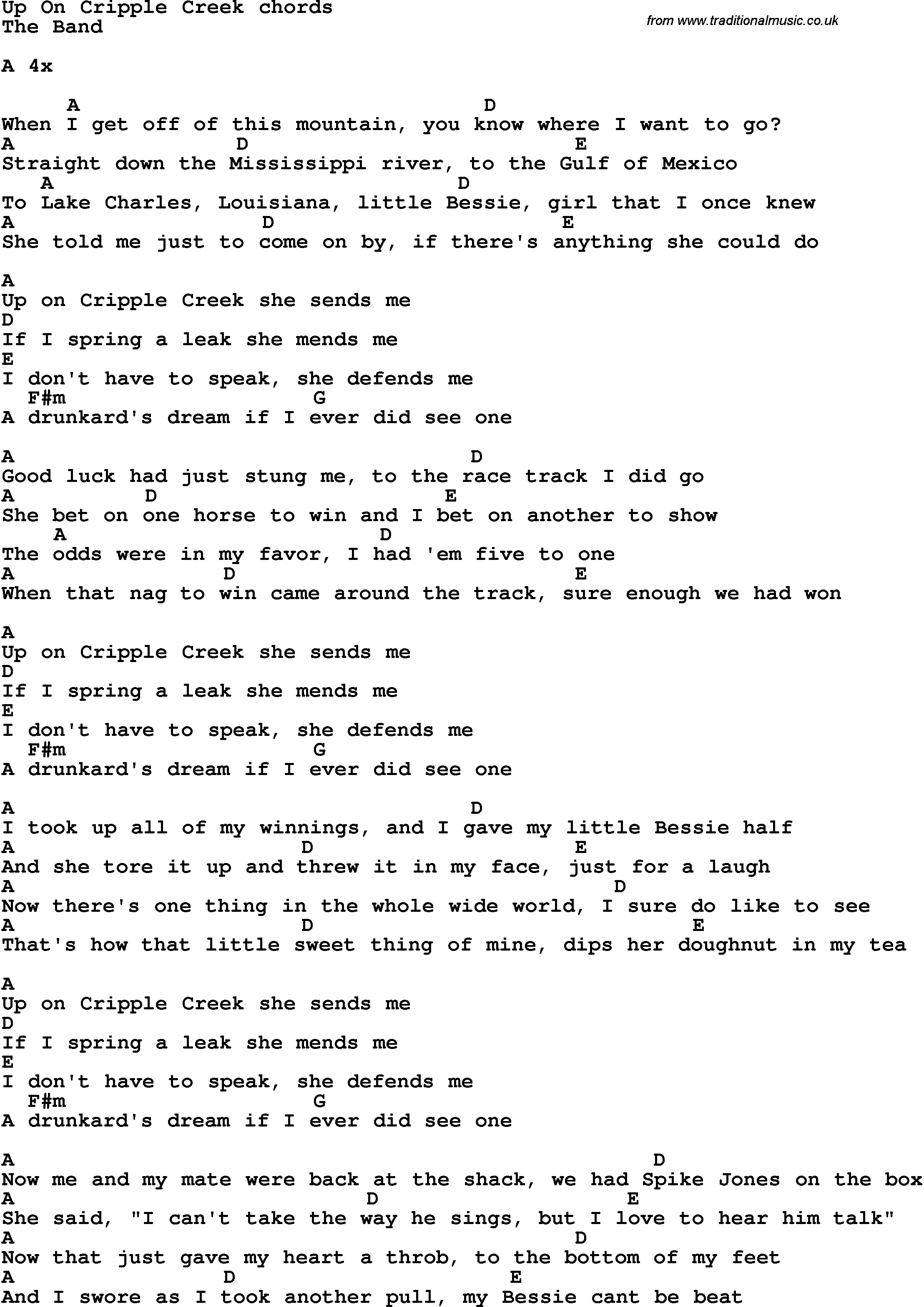 Song Lyrics With Guitar Chords For Up On Cripple Creek