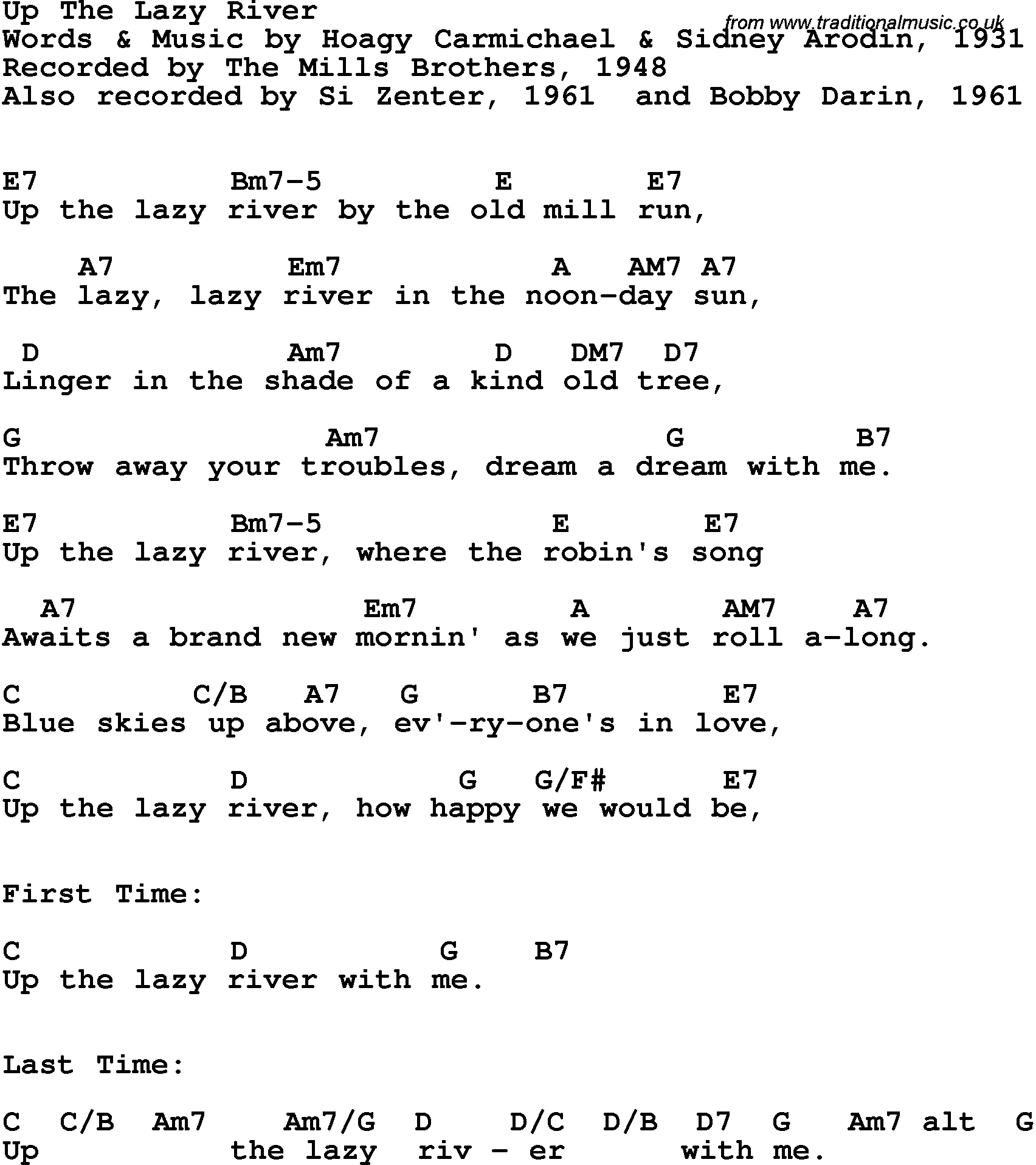 lazy river lyrics: