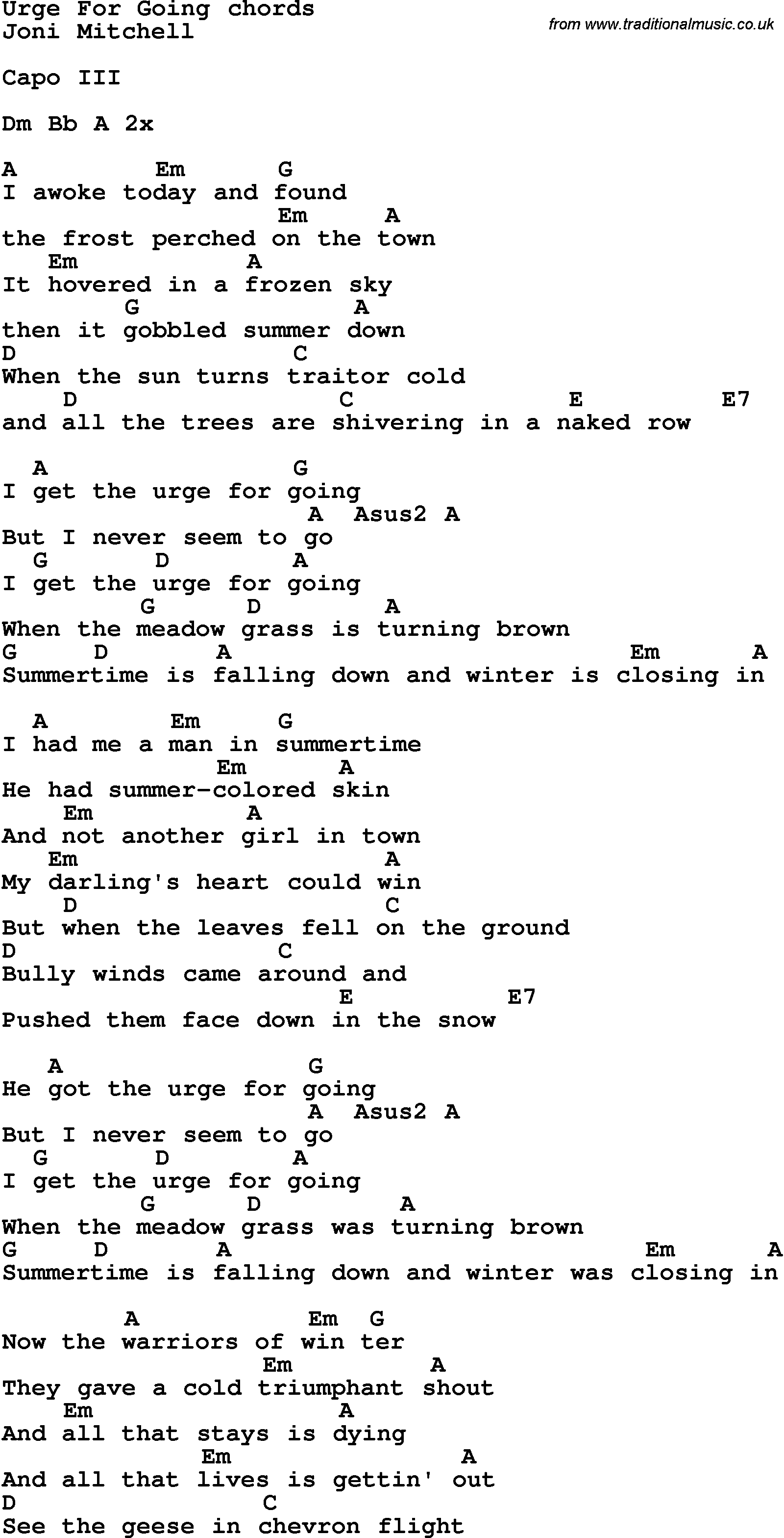 Song Lyrics With Guitar Chords For Urge For Going