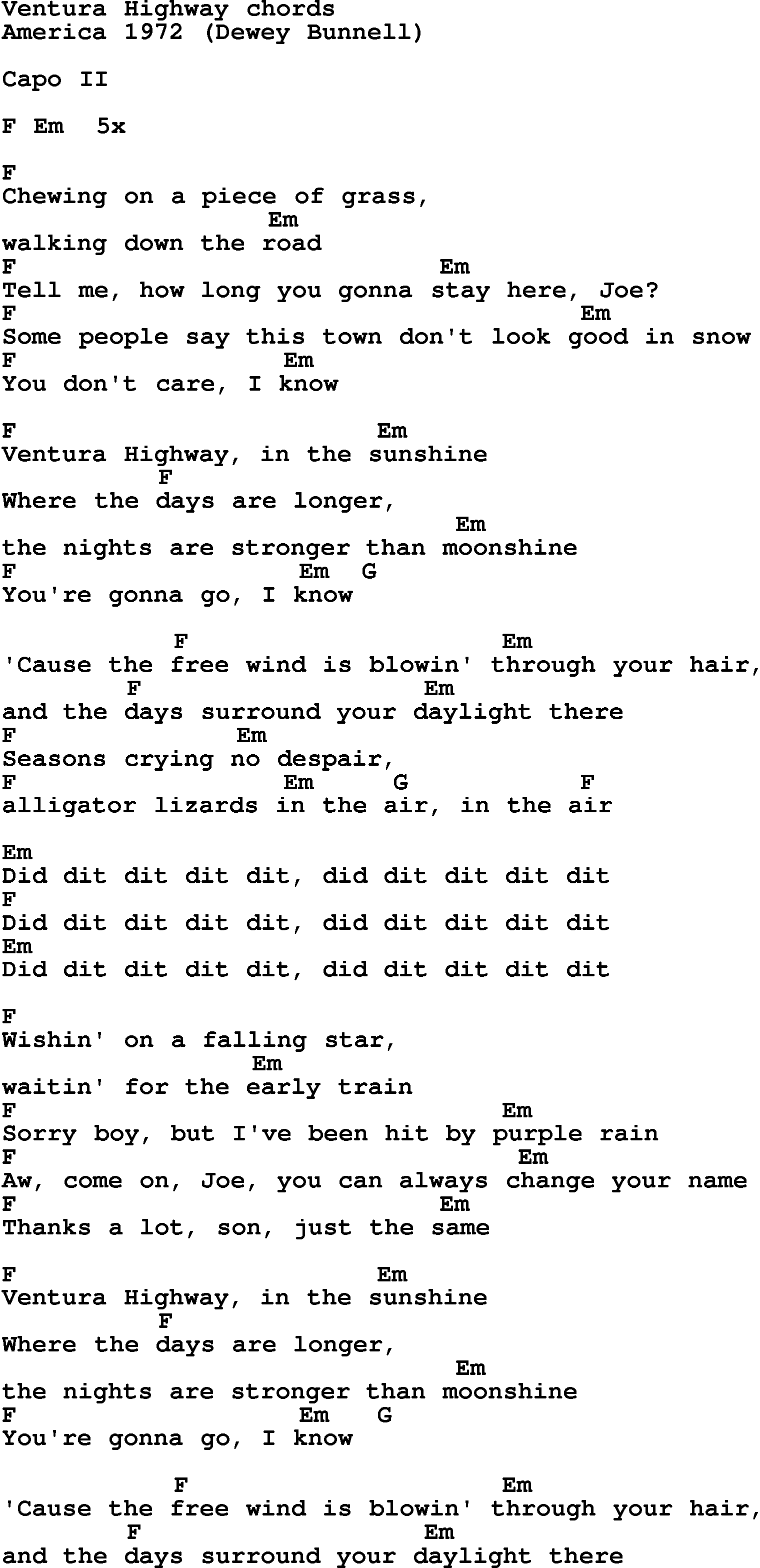 Song Lyrics With Guitar Chords For Ventura Highway