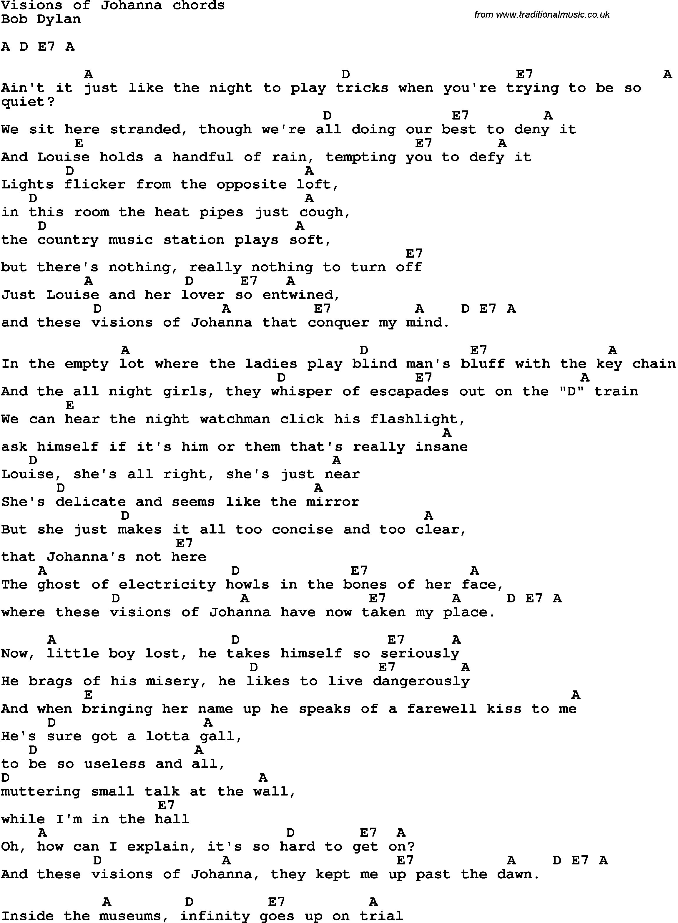 Song Lyrics With Guitar Chords For Visions Of Johanna