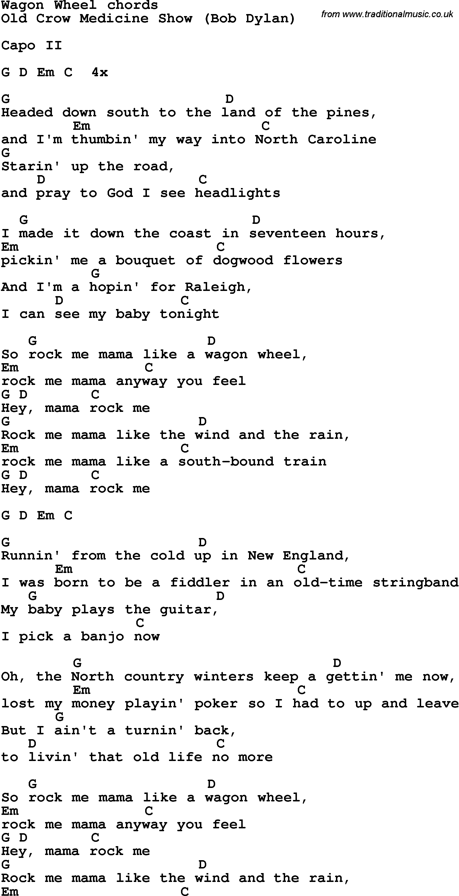 Song lyrics with guitar chords for Wagon Wheel
