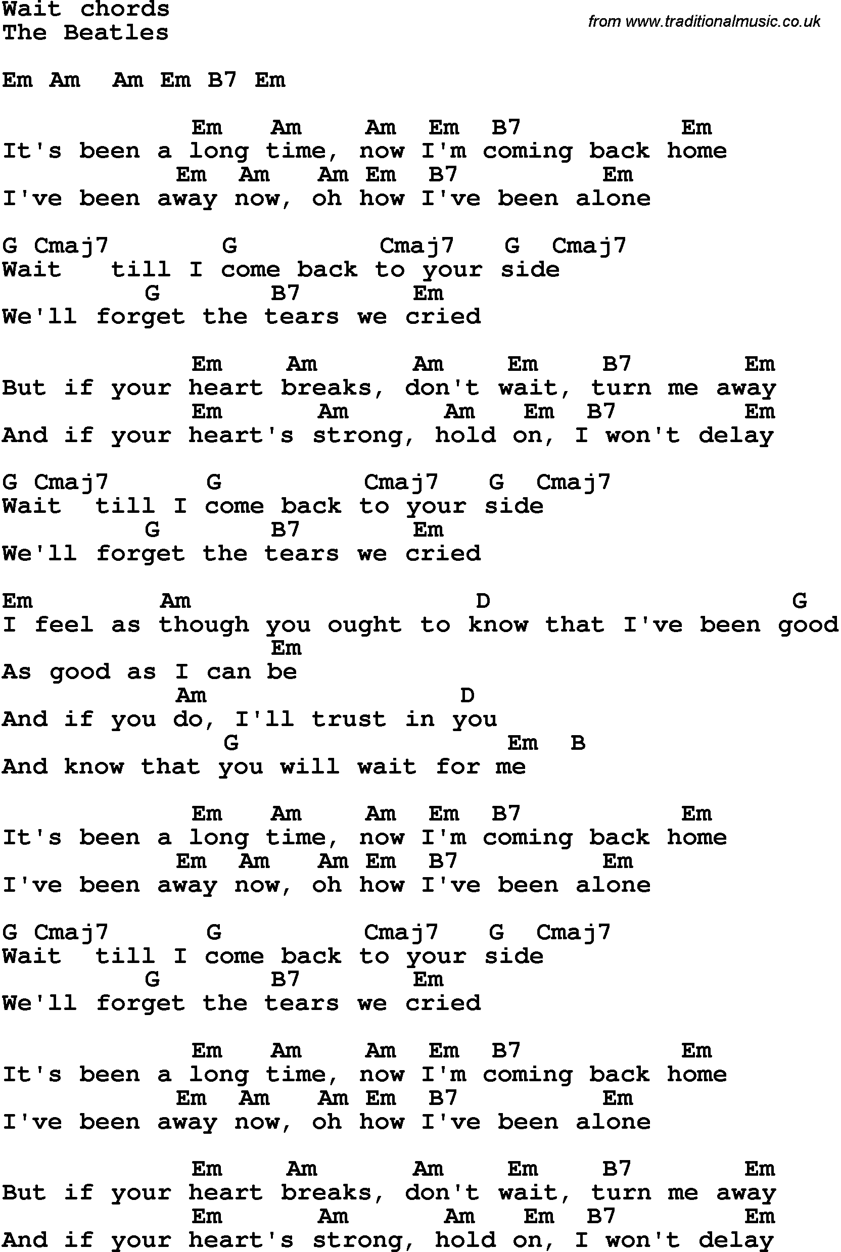 Song Lyrics With Guitar Chords For Wait