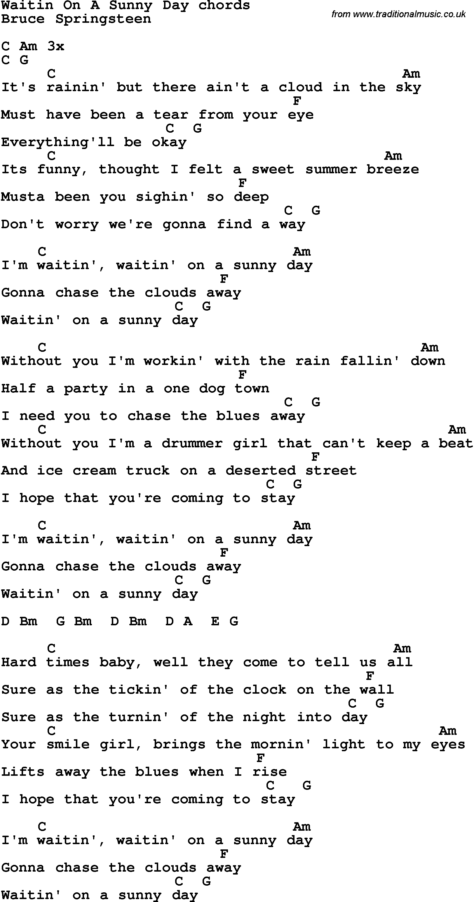 Song Lyrics With Guitar Chords For Waitin On A Sunny Day