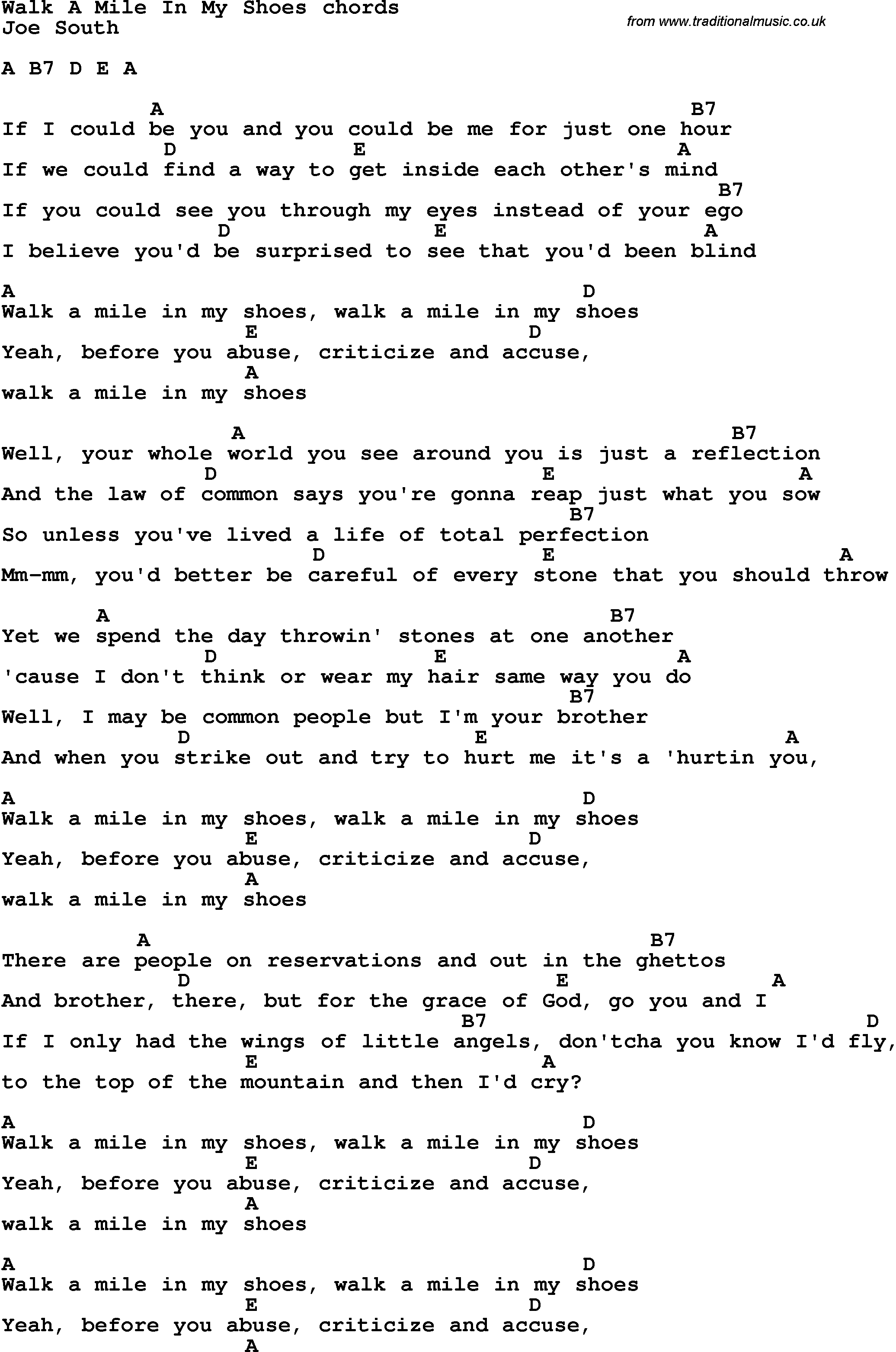 song lyrics with guitar chords for walk a mile in my shoes