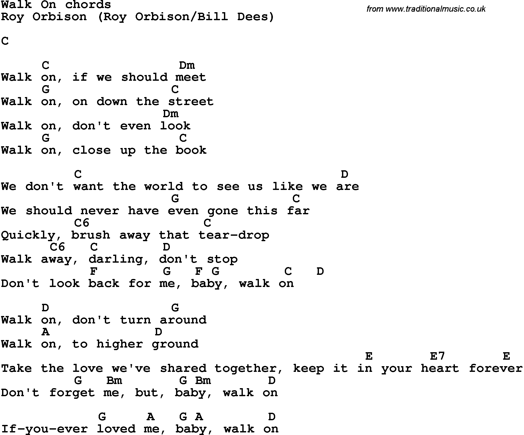 Song Lyrics With Guitar Chords For Walk On