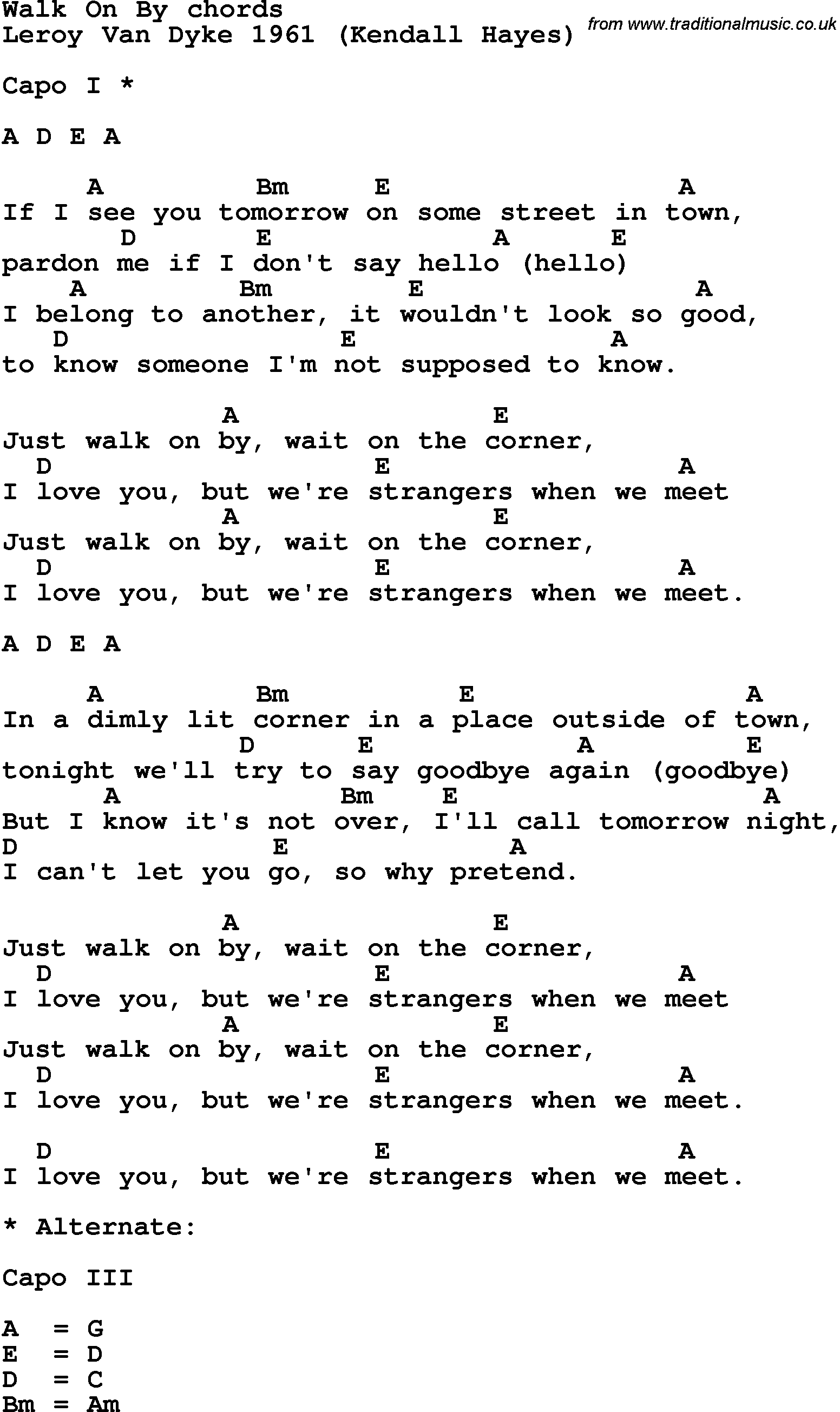 Song Lyrics With Guitar Chords For Walk On By