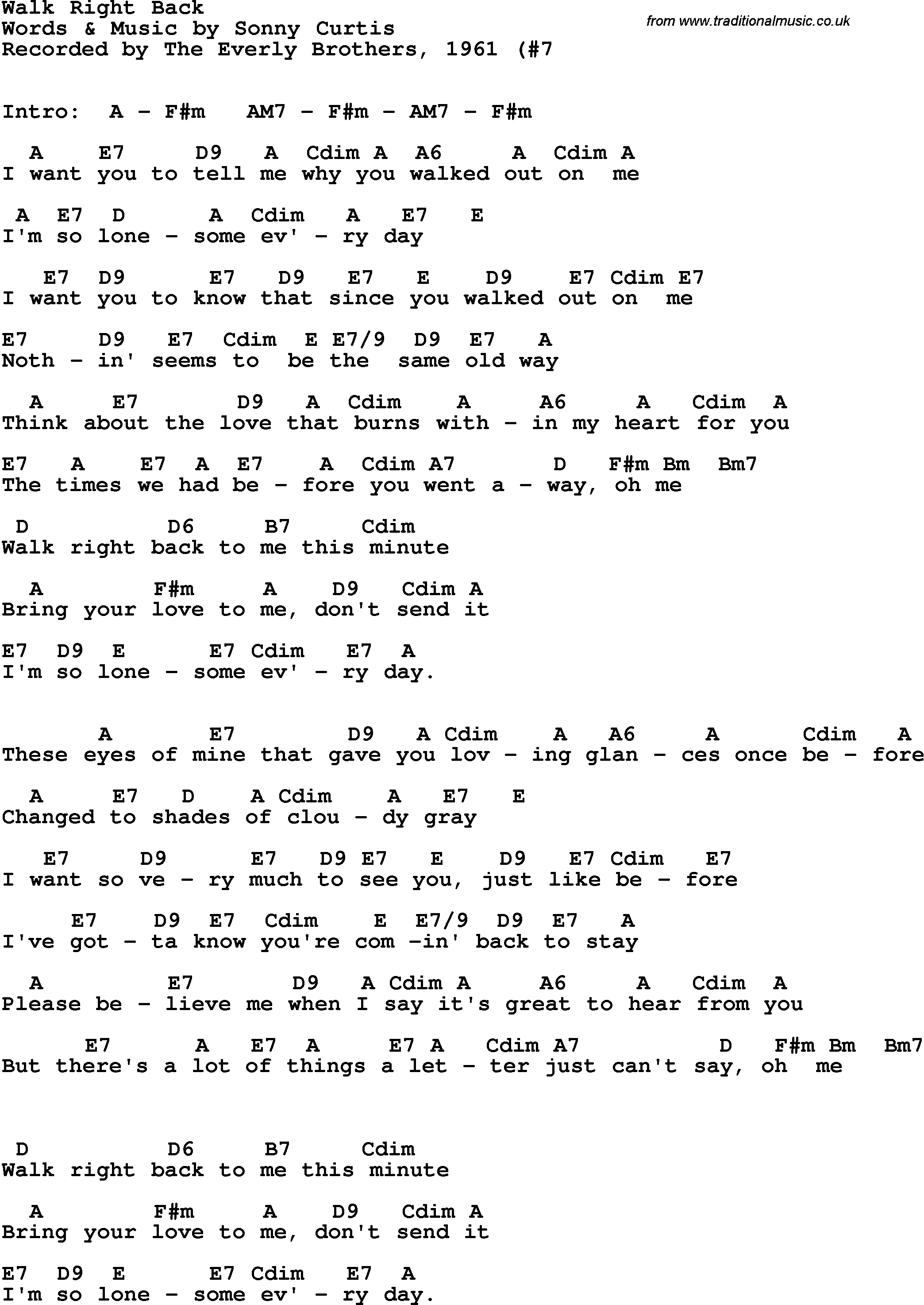 Song Lyrics With Guitar Chords For Walk Right Back The Everly