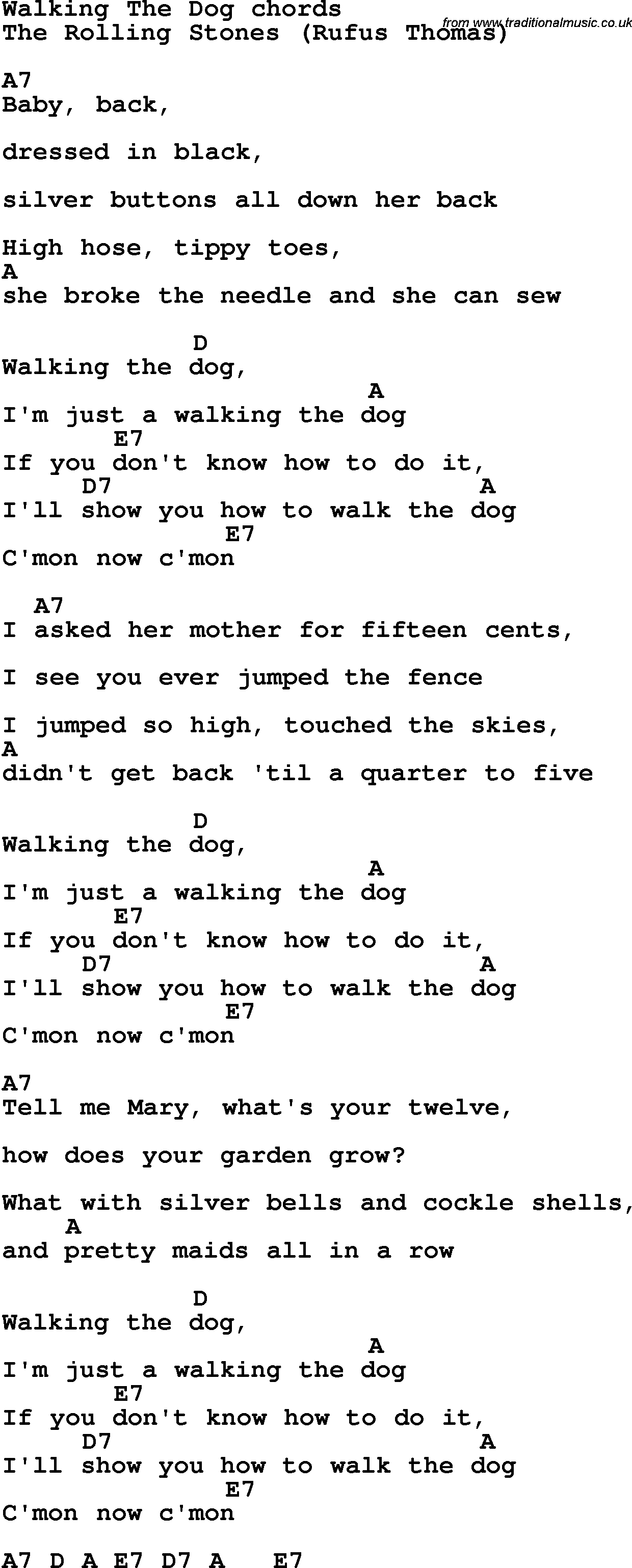 Song Lyrics With Guitar Chords For Walking The Dog