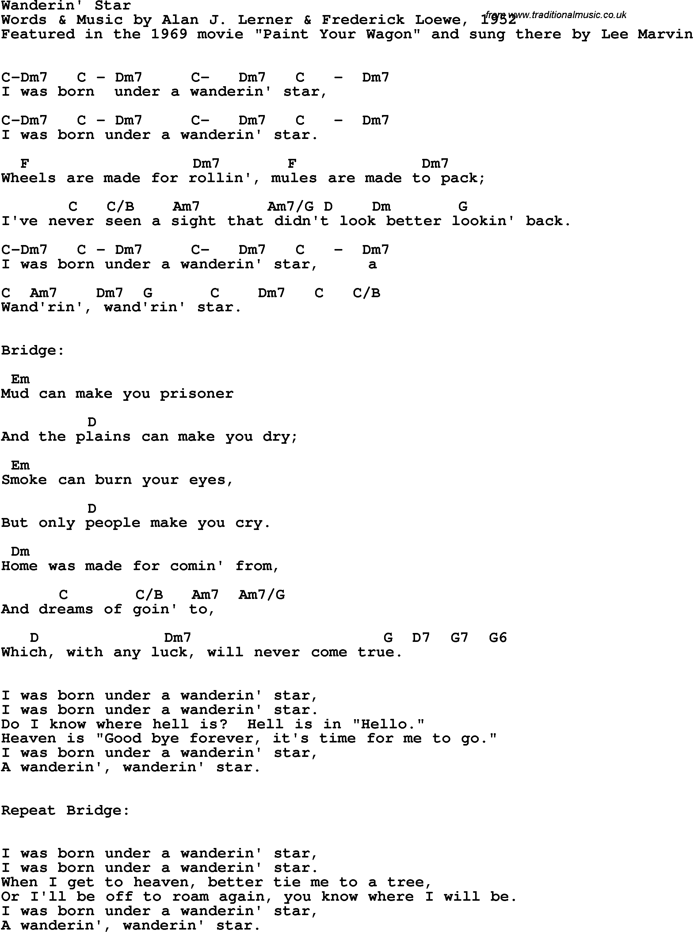 Song Lyrics With Guitar Chords For Wanderin Star Lee Marvin 1969