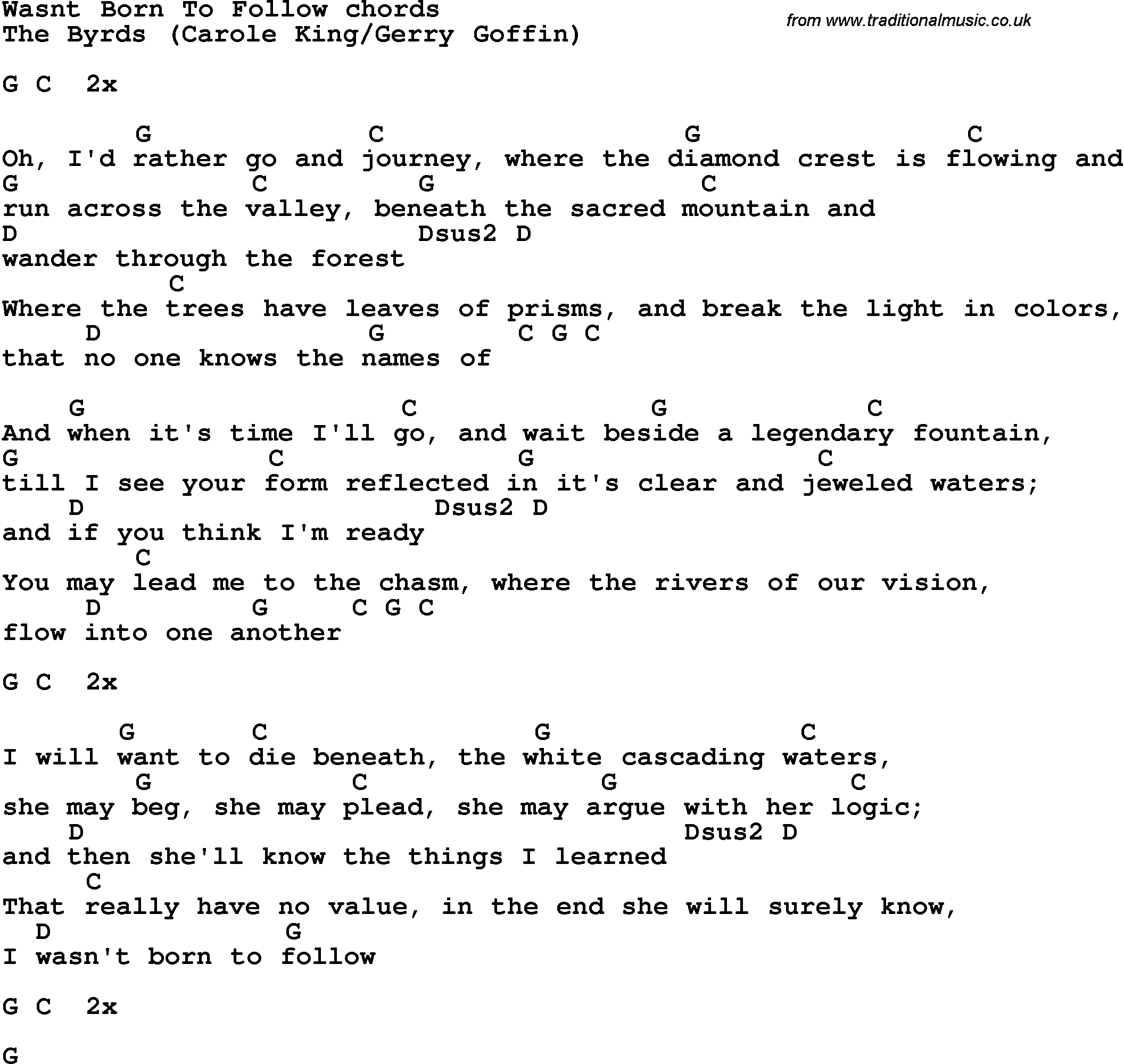 Song Lyrics With Guitar Chords For Wasnt Born To Follow