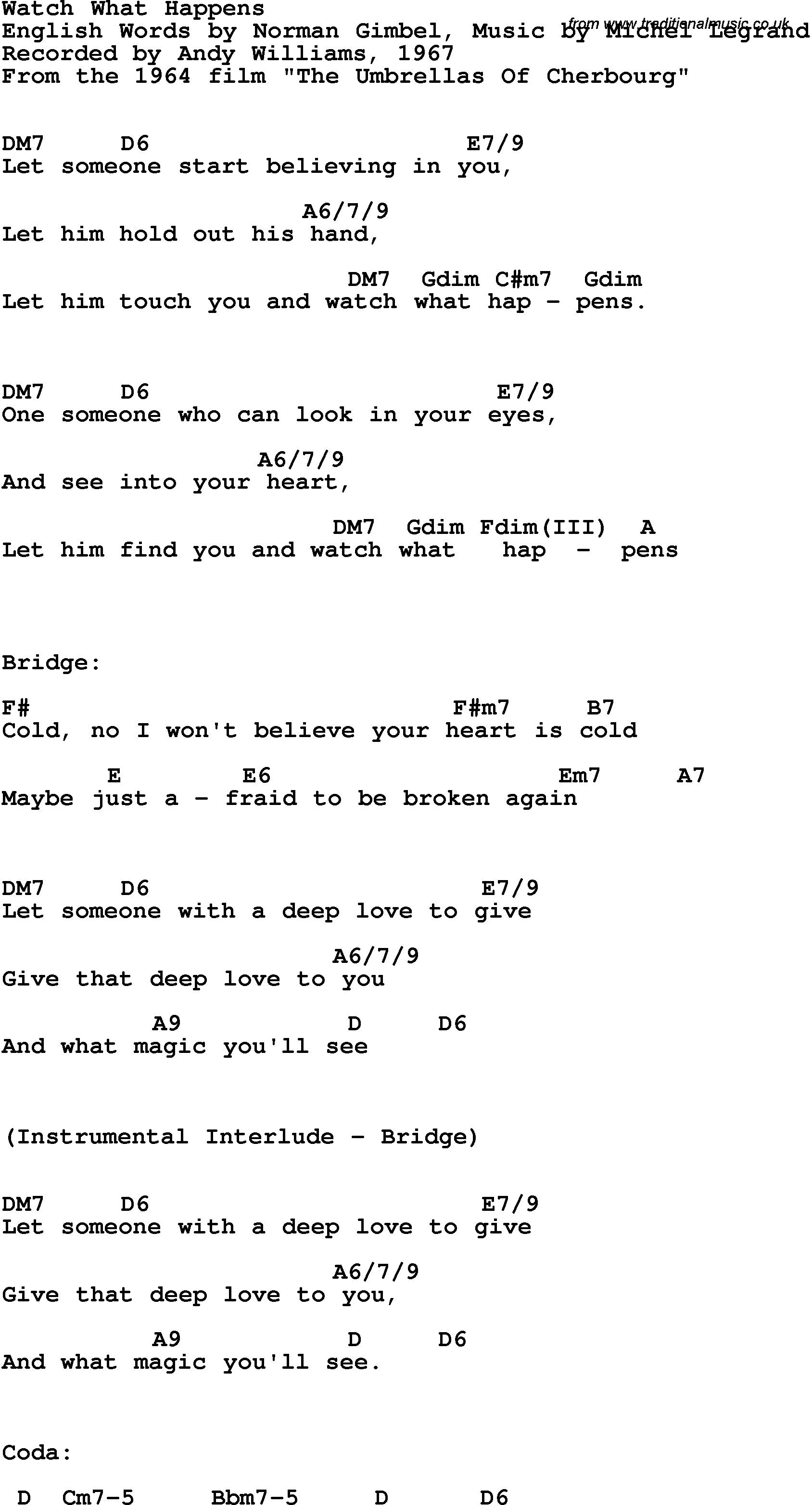 Song Lyrics With Guitar Chords For Watch What Happens Andy
