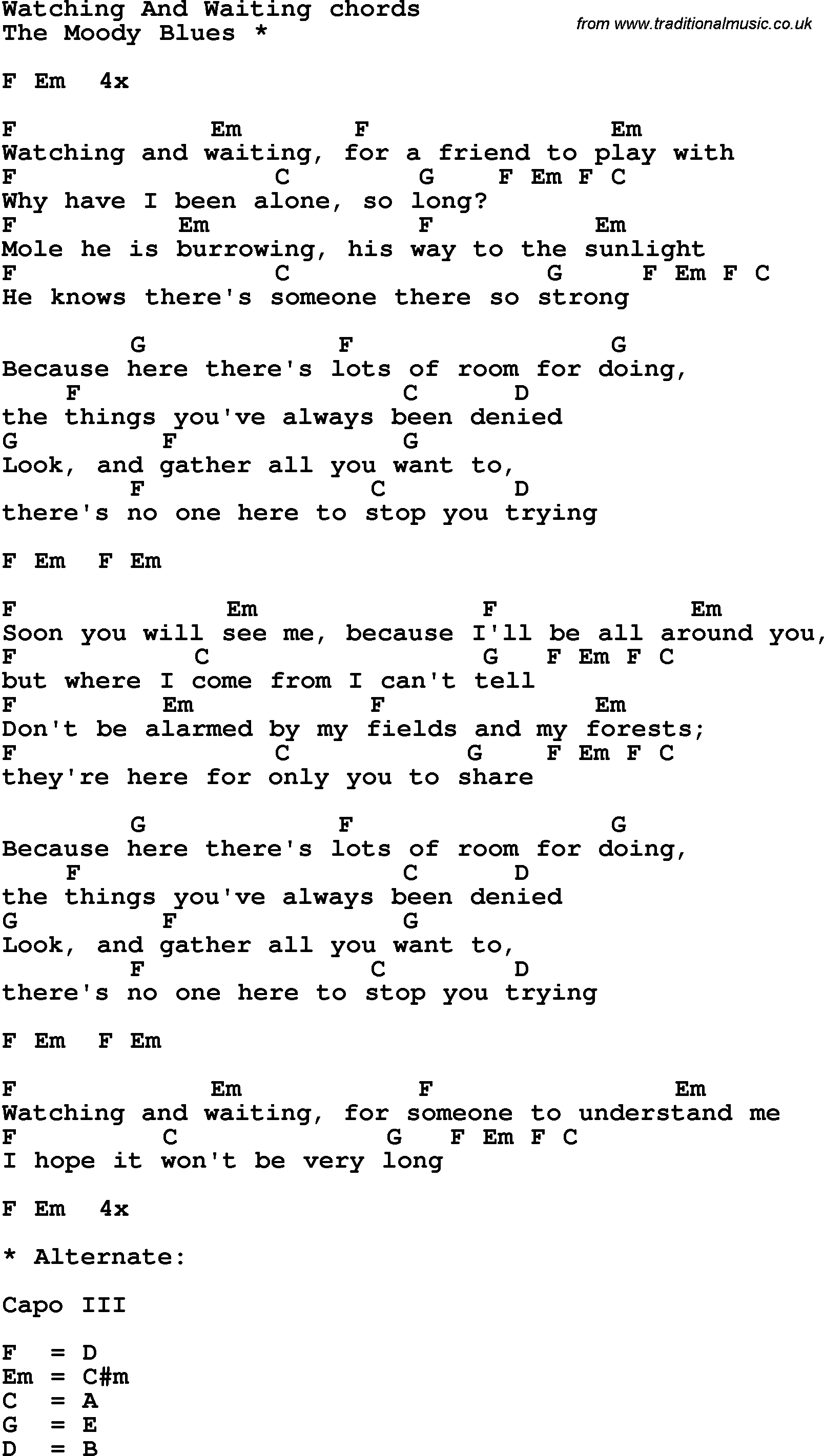 Song Lyrics With Guitar Chords For Watching And Waiting