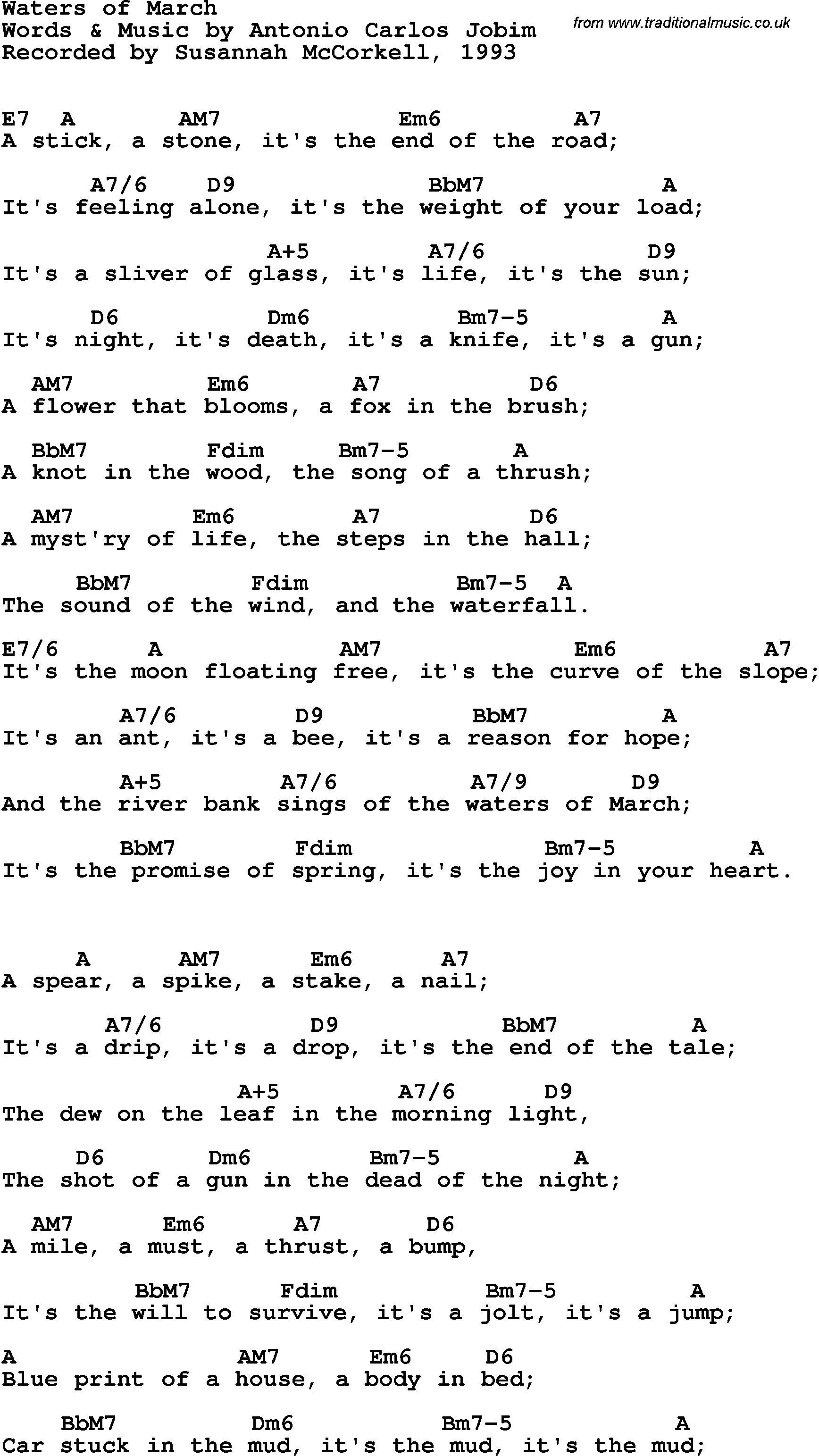 Song lyrics with guitar chords for Waters Of March - Susannah