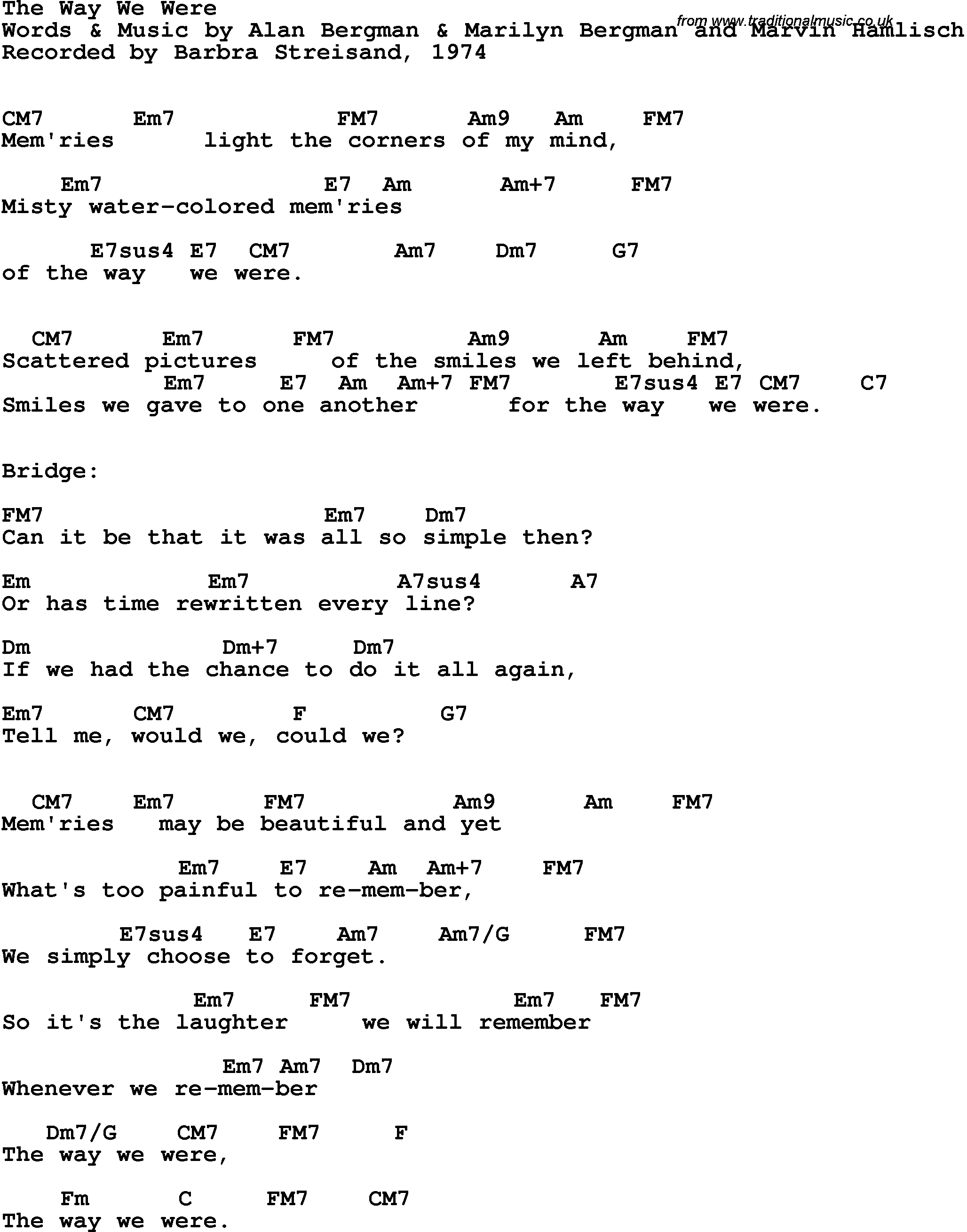 Song Lyrics With Guitar Chords For Way We Were The Barbra