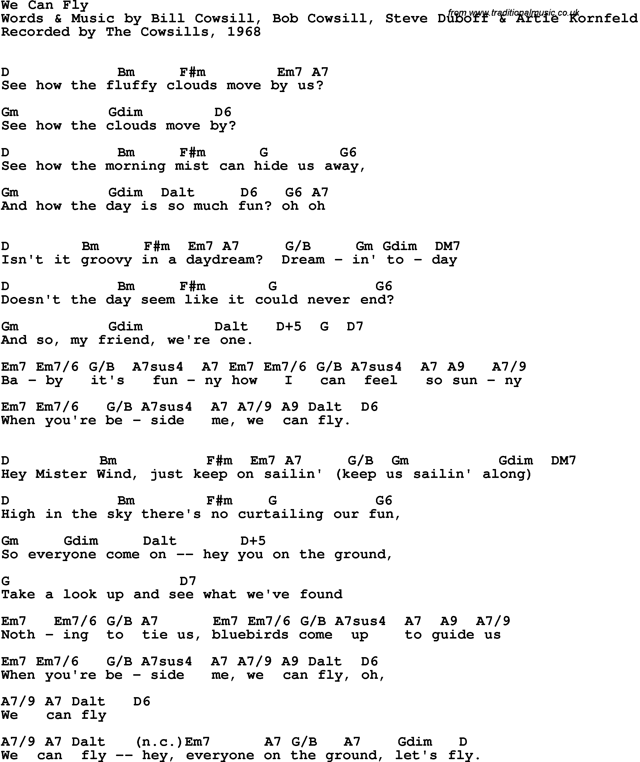 Song lyrics with guitar chords for we can fly the cowsills 1968 song lyrics with guitar chords for we can fly the cowsills 1968 hexwebz Image collections
