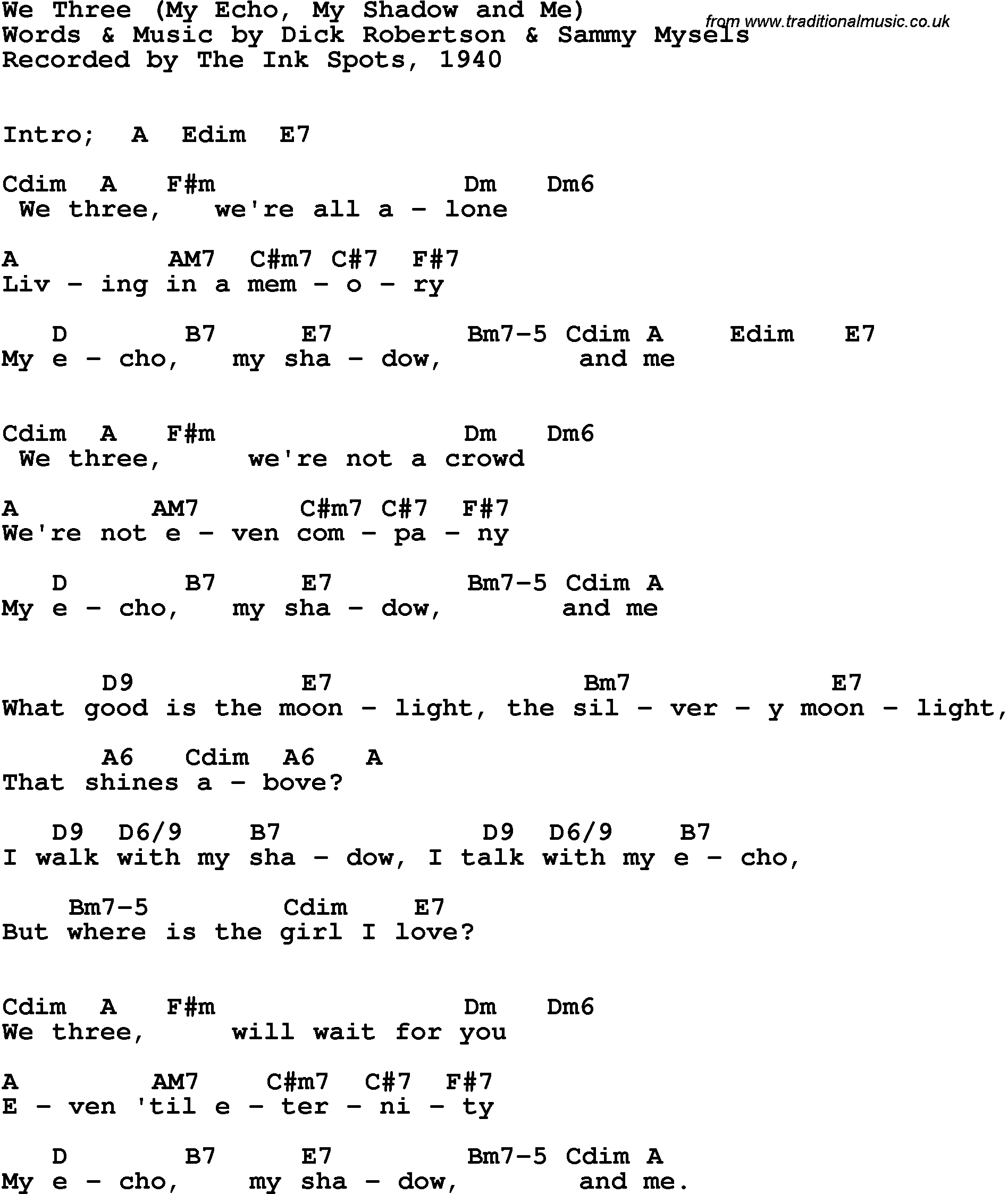 Song Lyrics With Guitar Chords For We Three My Echo My Shadow And