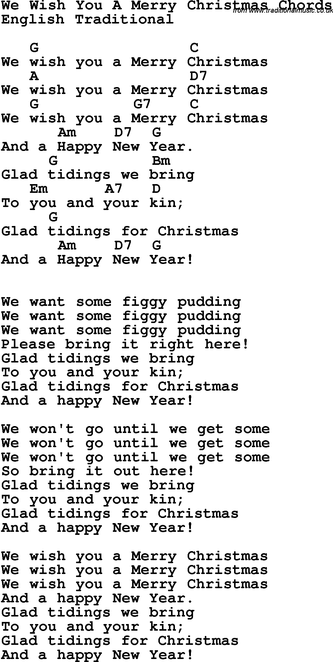 Song lyrics with guitar chords for We Wish You A Merry Christmas