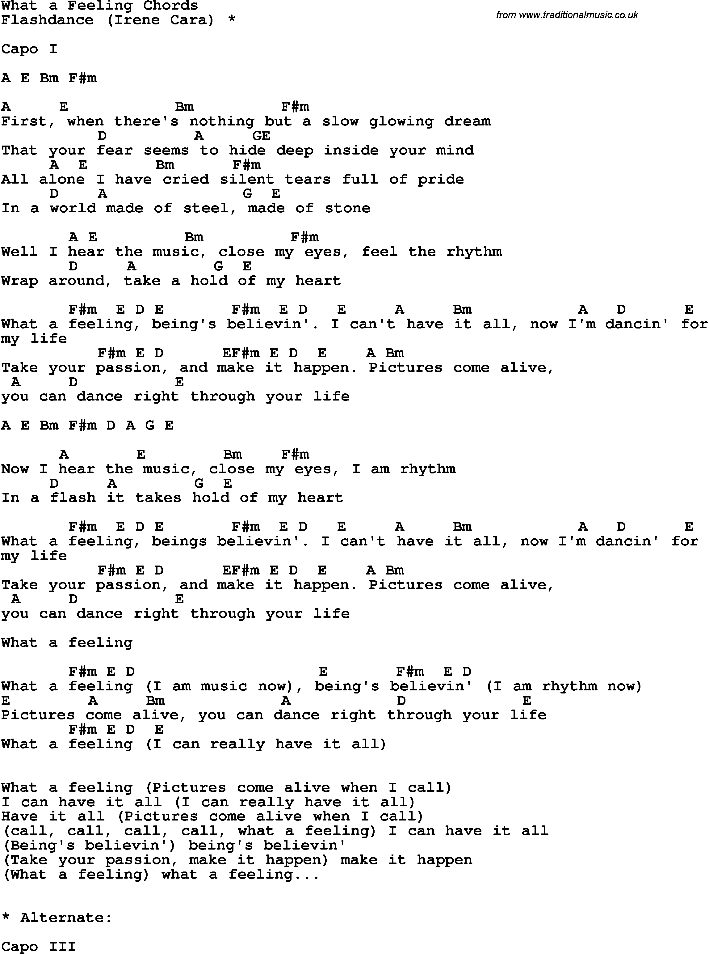 Song Lyrics With Guitar Chords For What A Feeling