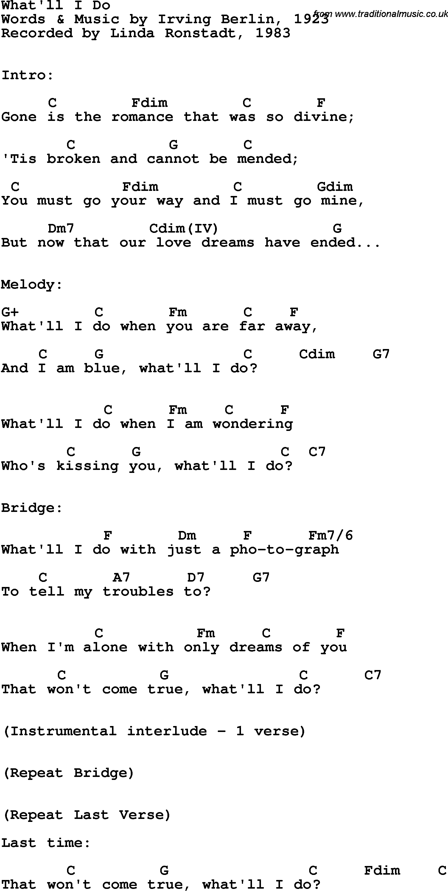 Song Lyrics With Guitar Chords For Whatll I Do Linda Ronstadt 1983