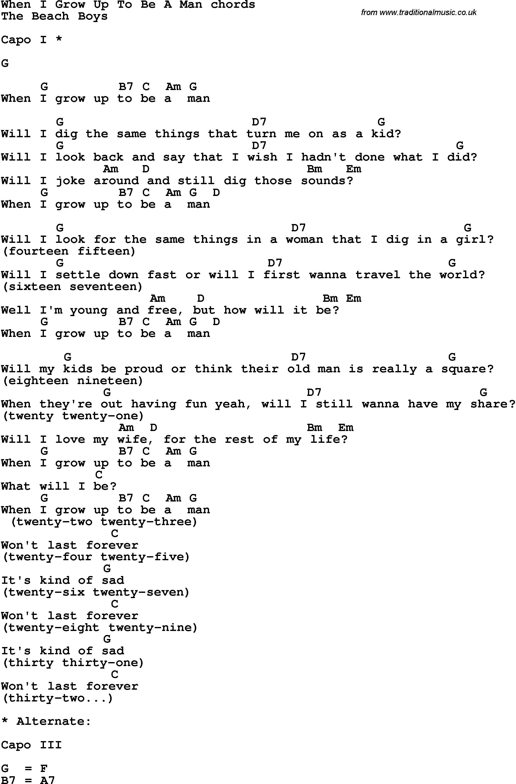 Song Lyrics With Guitar Chords For When I Grow Up To Be A Man