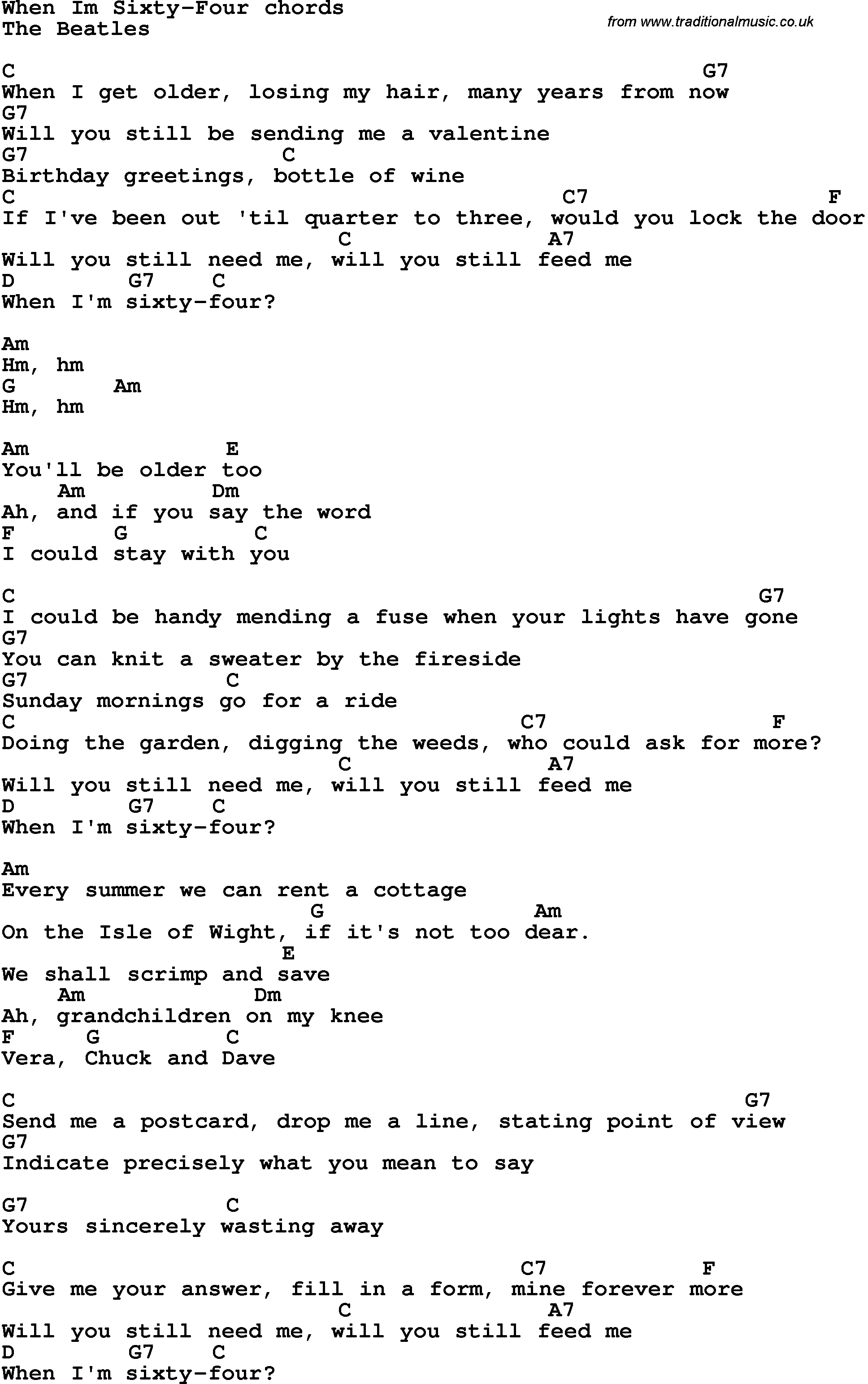 Song Lyrics With Guitar Chords For When I M 64 The Beatles