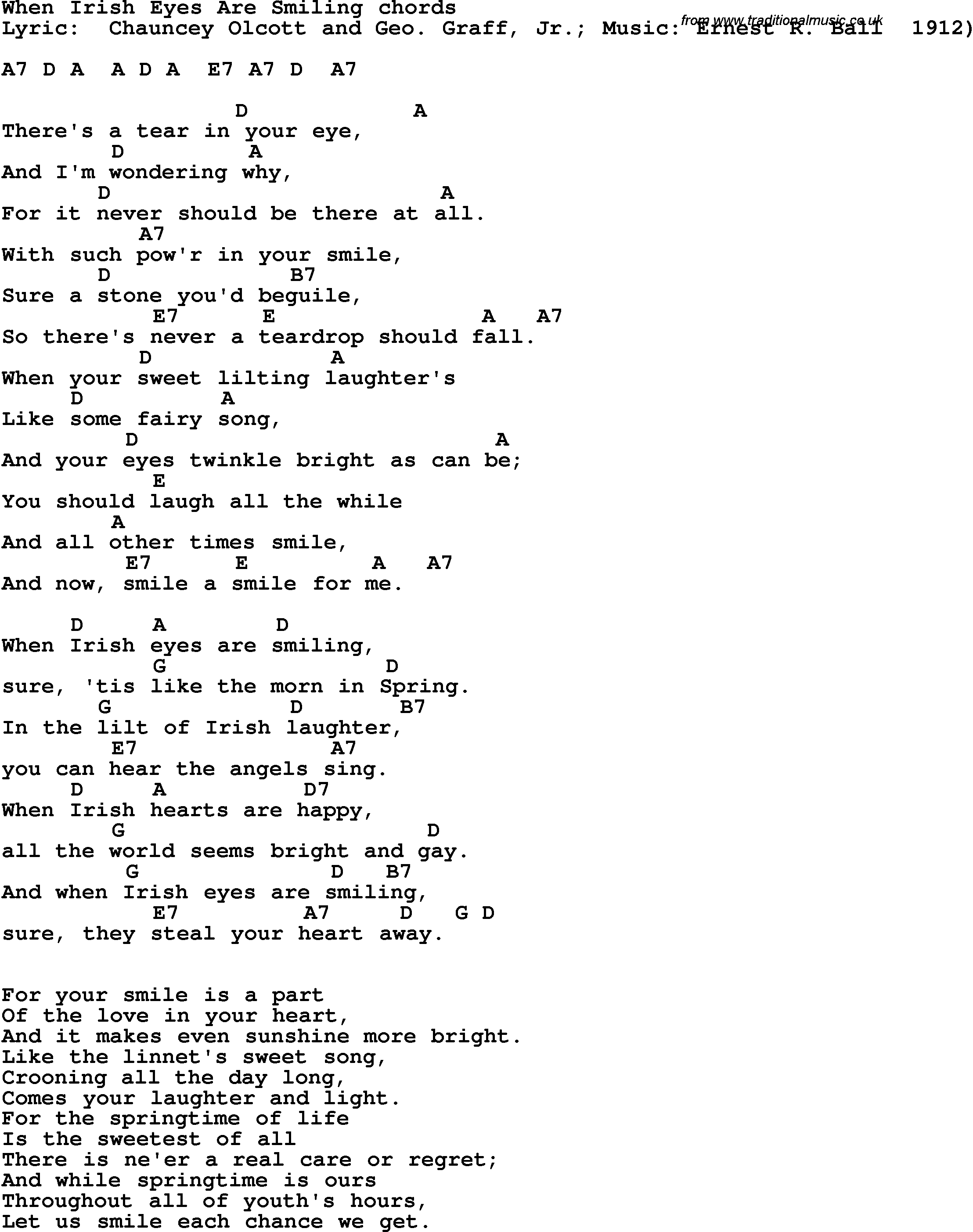 Song Lyrics With Guitar Chords For When Irish Eyes Are Smiling