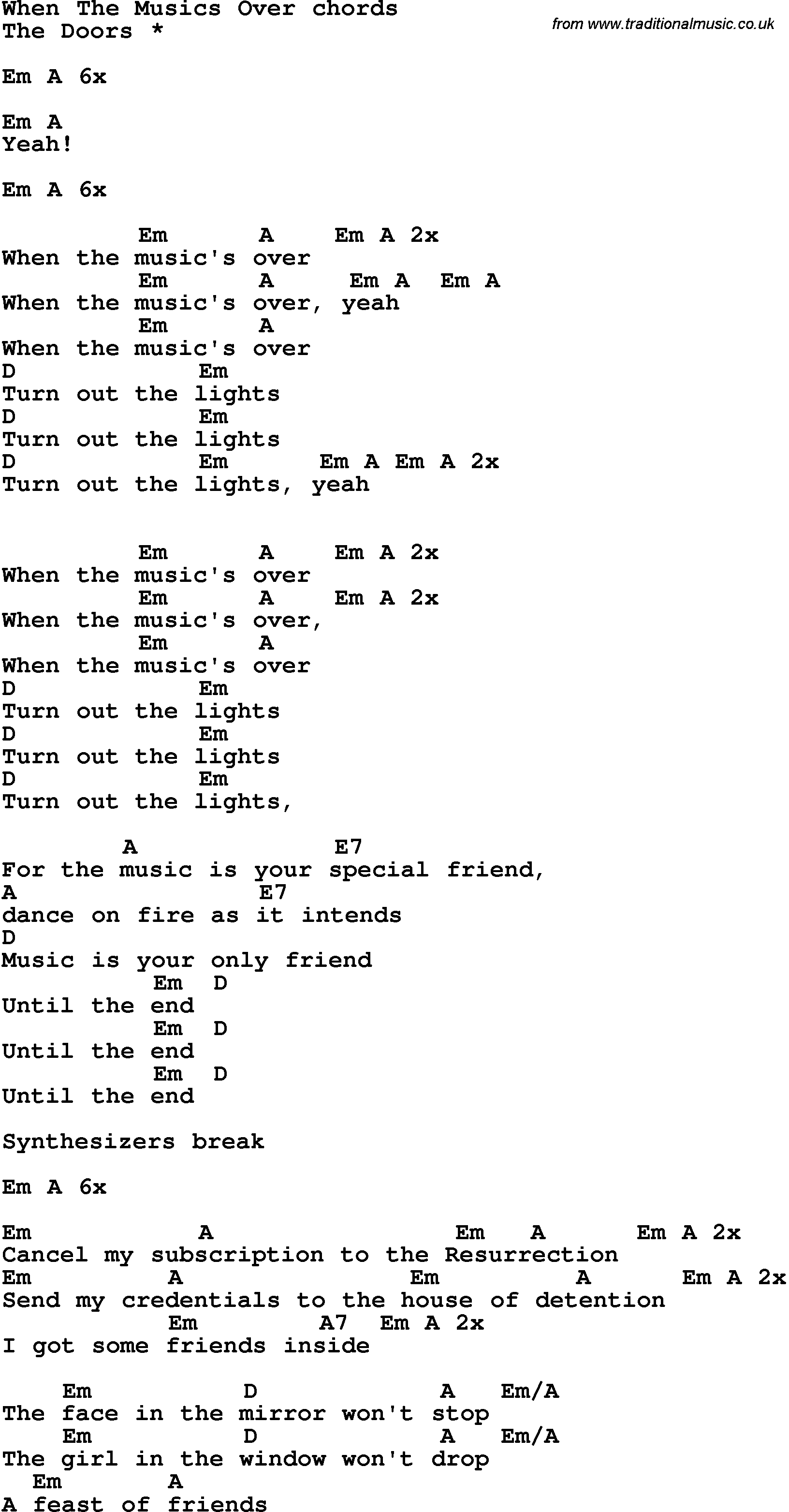 Song Lyrics With Guitar Chords For When The Musics Over