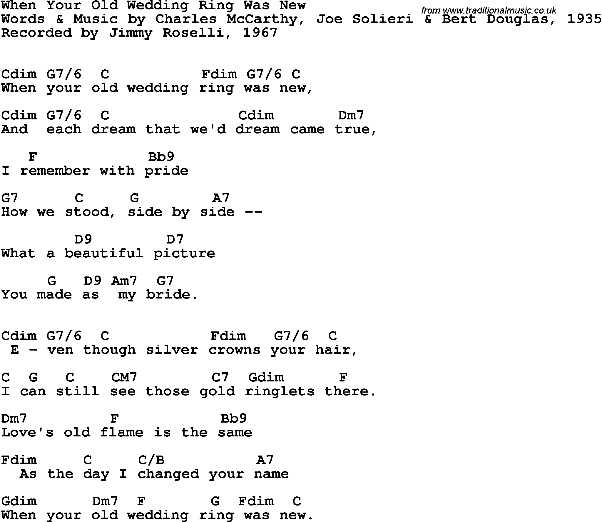 Song lyrics with guitar chords for When Your Old Wedding Ring Was