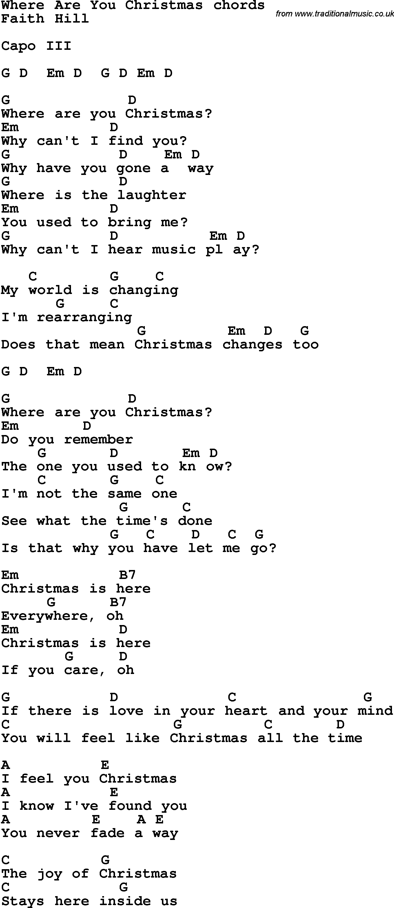 Lyrics To Where Are You Christmas Wlrtradio