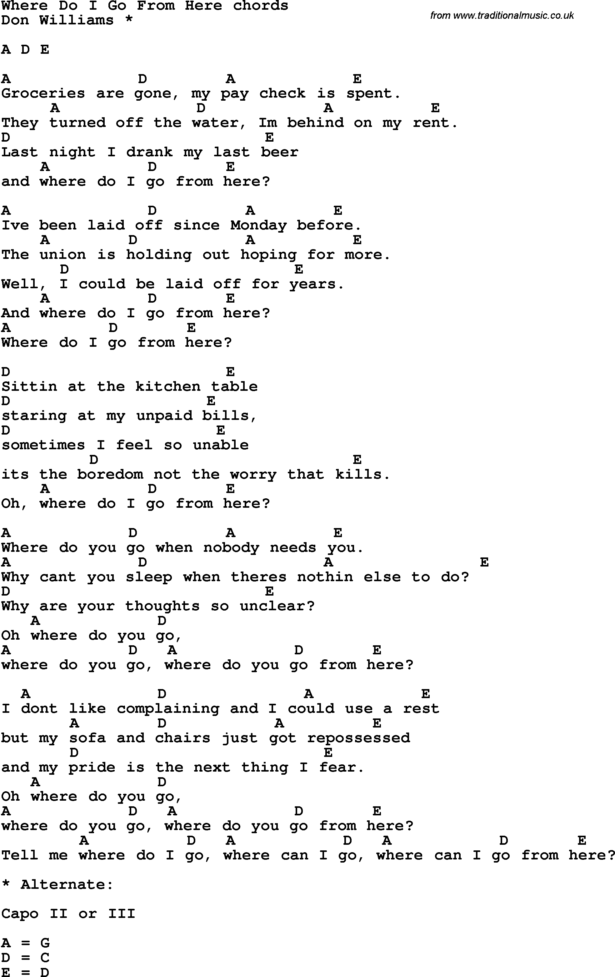 Song Lyrics With Guitar Chords For Where Do I Go From Here