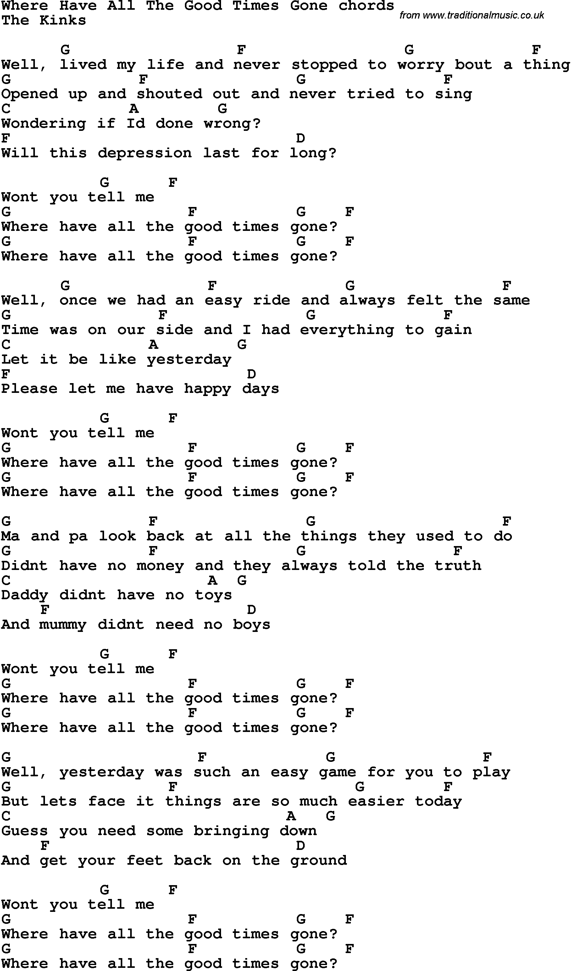 For all the times lyrics