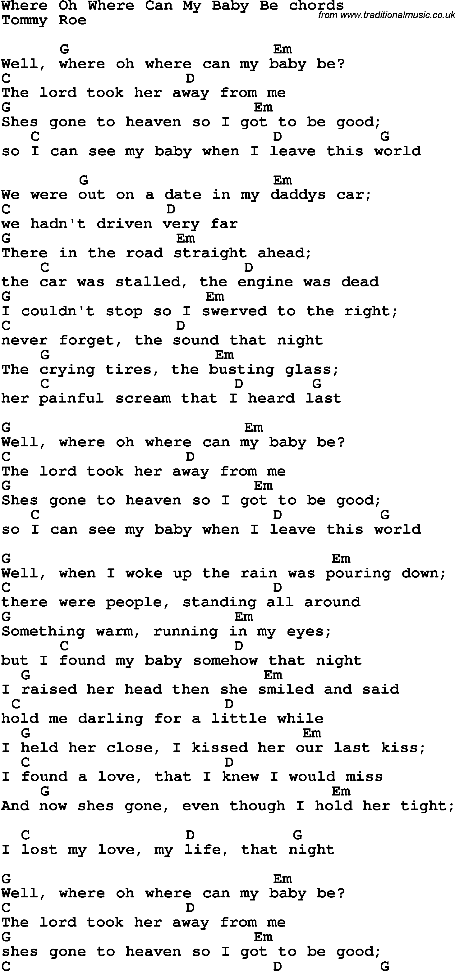 Song lyrics with guitar chords for Where Oh Where Can My Baby Be