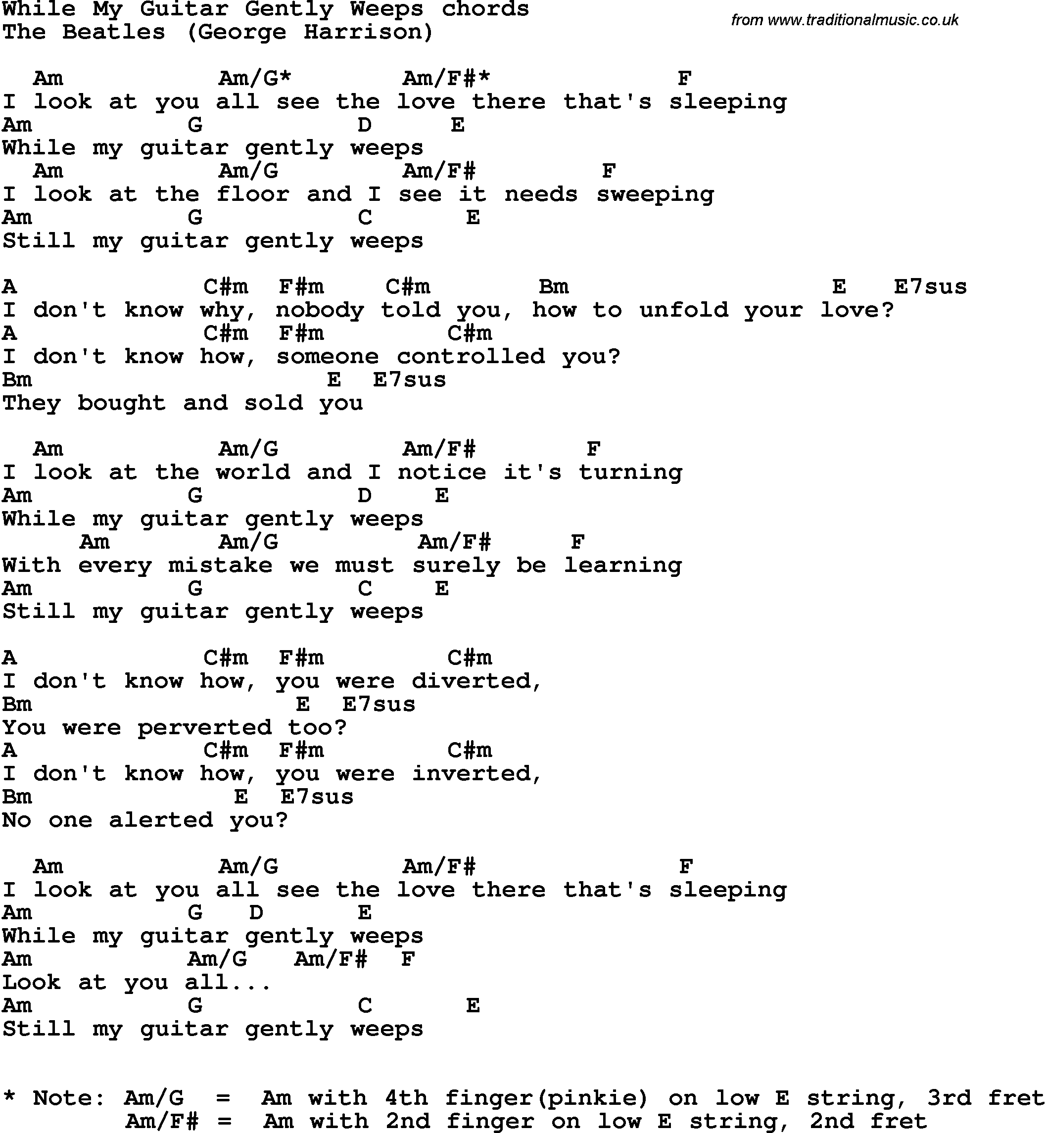 Song Lyrics With Guitar Chords For While My Guitar Gently Weeps