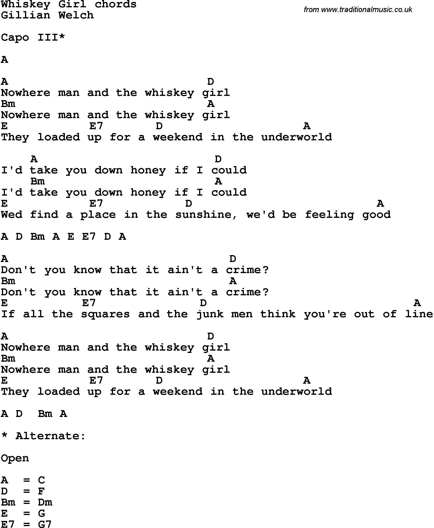 Song Lyrics With Guitar Chords For Whiskey Girl